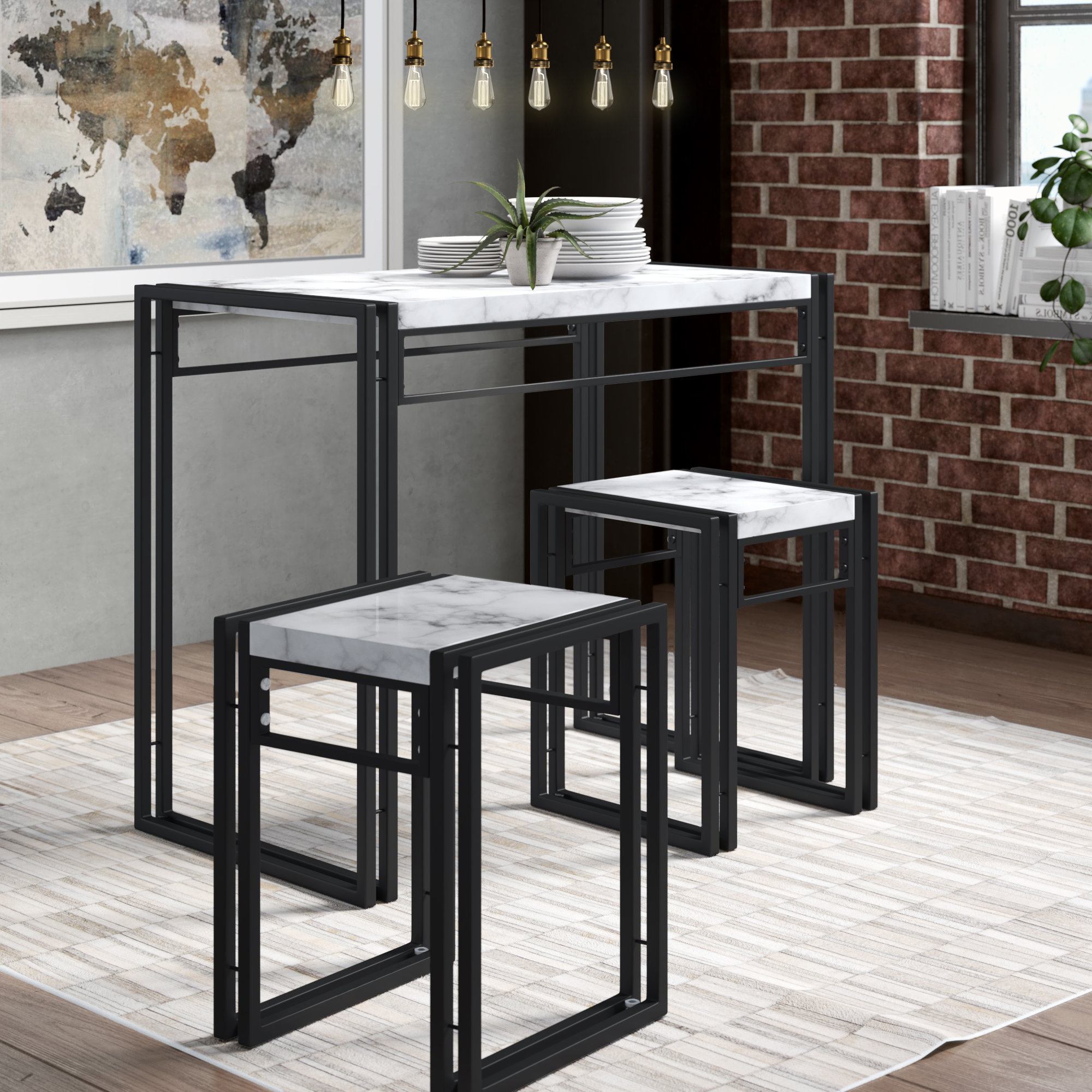 Fashionable Debby Small Space 3 Piece Dining Set Regarding Miskell 3 Piece Dining Sets (Gallery 7 of 20)