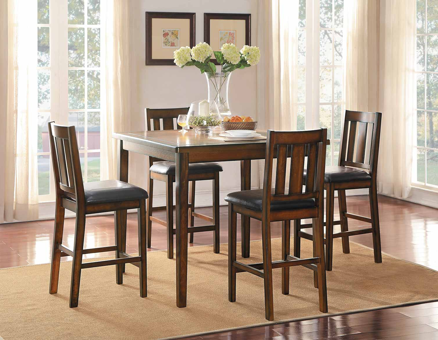 Fashionable Homelegance Delmar 5 Piece Pack Counter Height Dining Set – Burnish Finish Throughout Delmar 5 Piece Dining Sets (View 3 of 20)