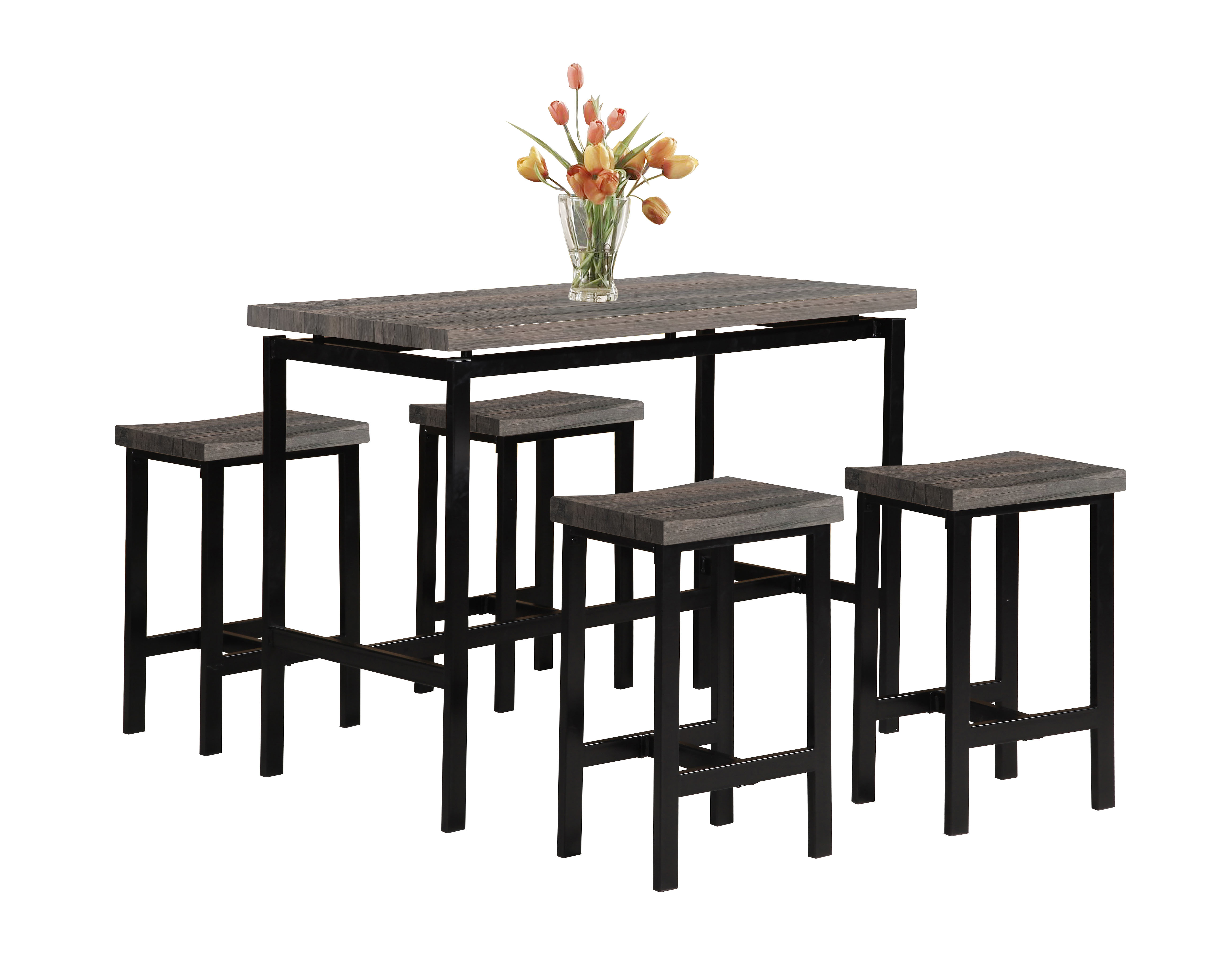 Fashionable Partin 3 Piece Dining Sets With Denzel 5 Piece Counter Height Breakfast Nook Dining Set (View 17 of 20)