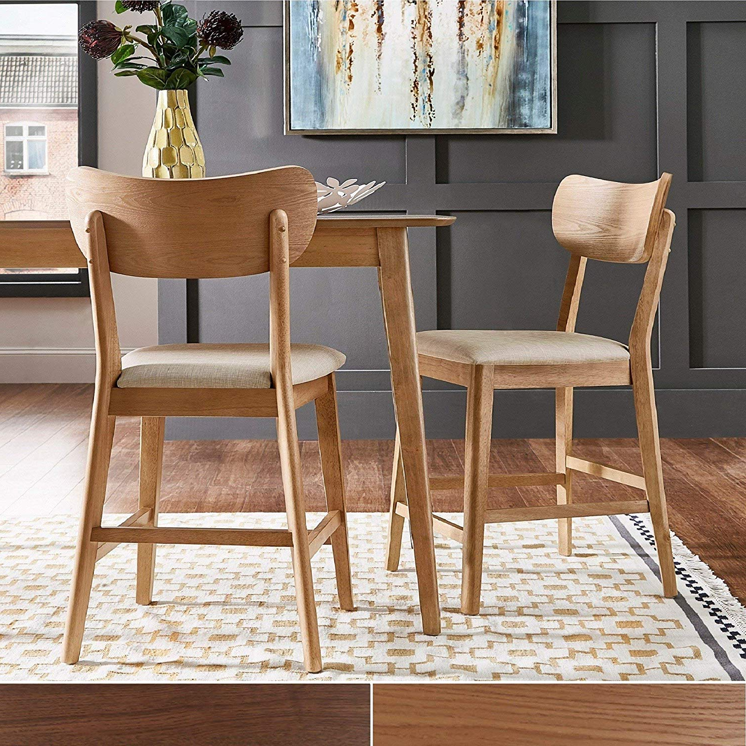 Fashionable Penelope 3 Piece Counter Height Wood Dining Sets Pertaining To Amazon – Inspire Q Penelope Danish Modern Tapered Leg Counter (Gallery 8 of 20)