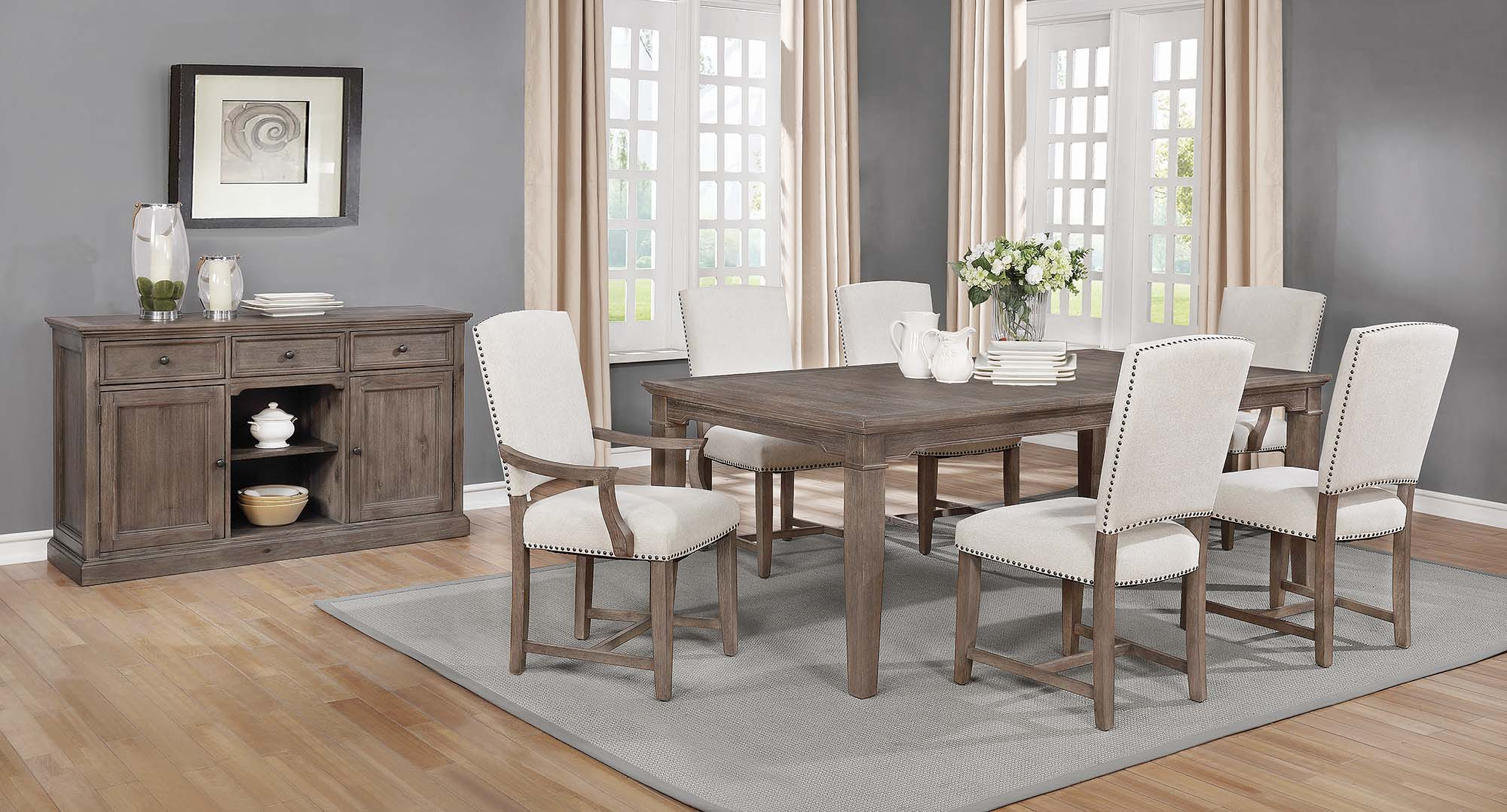 Fashionable Penelope 3 Piece Counter Height Wood Dining Sets Within Penelope 7 Piece Dining Set Island Khaki And Rice Grey (Gallery 18 of 20)