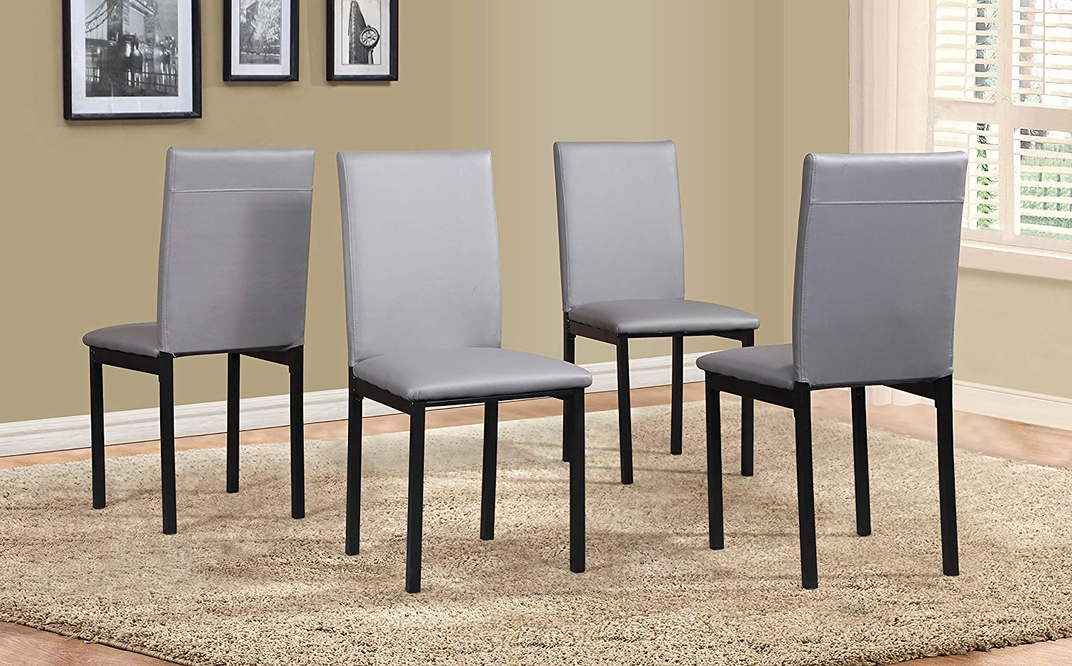 Fashionable Roundhill Furniture C007gy Noyes Faux Leather Metal Frame Dining Chair Gray For Noyes 5 Piece Dining Sets (Gallery 11 of 20)