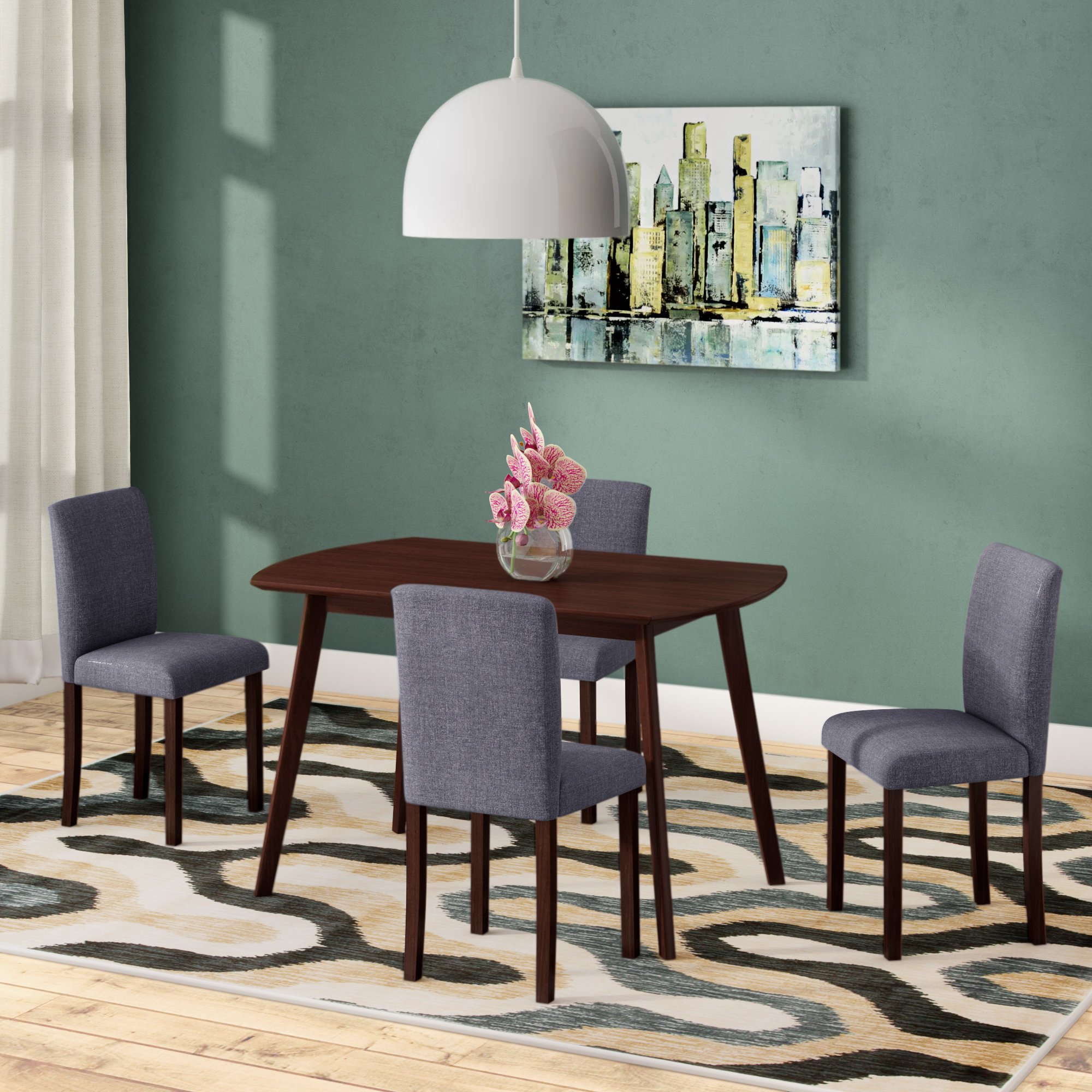 Fashionable Tejeda 5 Piece Dining Sets Intended For Errico 5 Piece Solid Wood Dining Set (View 6 of 20)