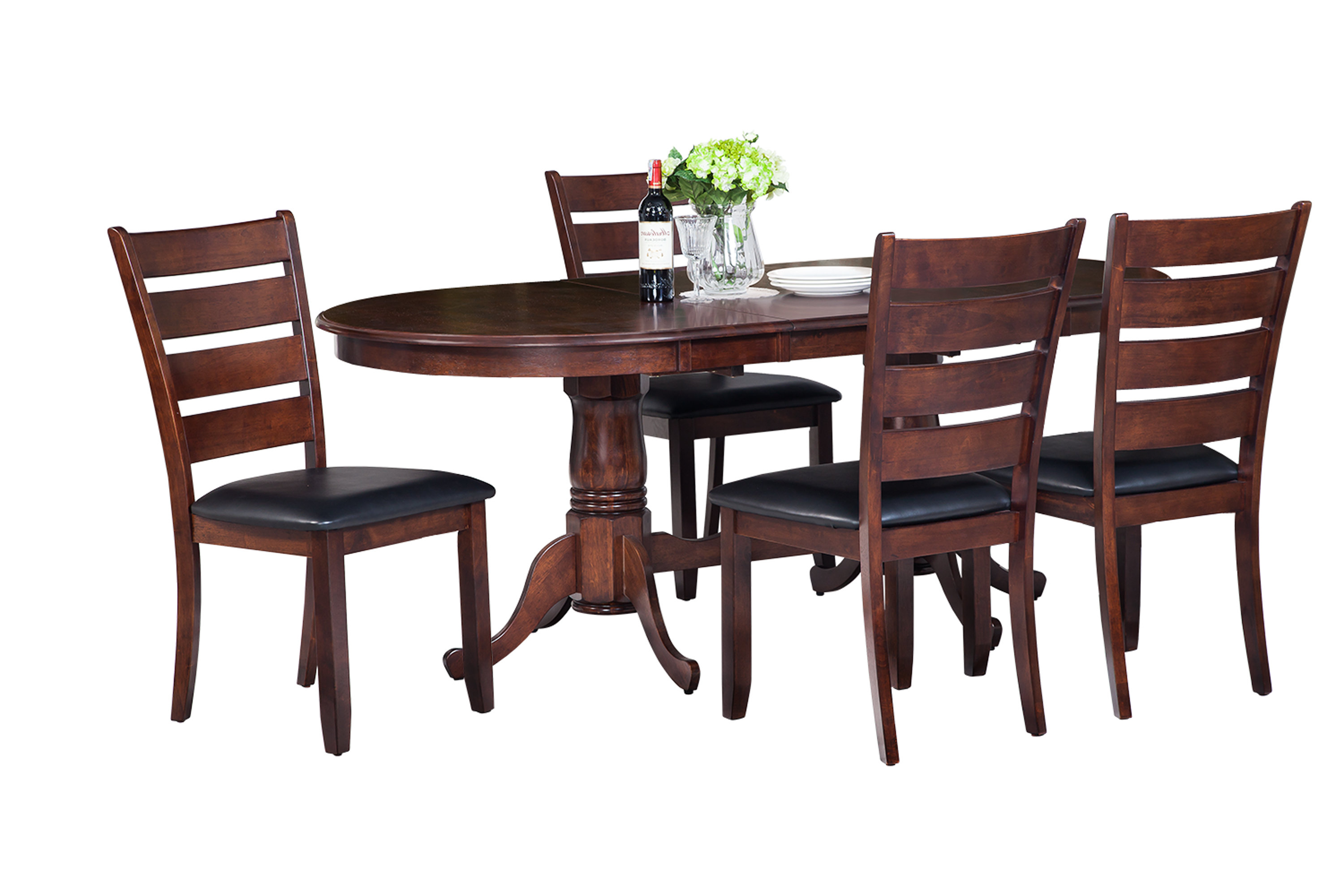 Favorite Adan 5 Piece Solid Wood Dining Sets (Set Of 5) Throughout Doretha Traditional 5 Piece Solid Wood Dining Set With Curved Back Chair (Gallery 13 of 20)