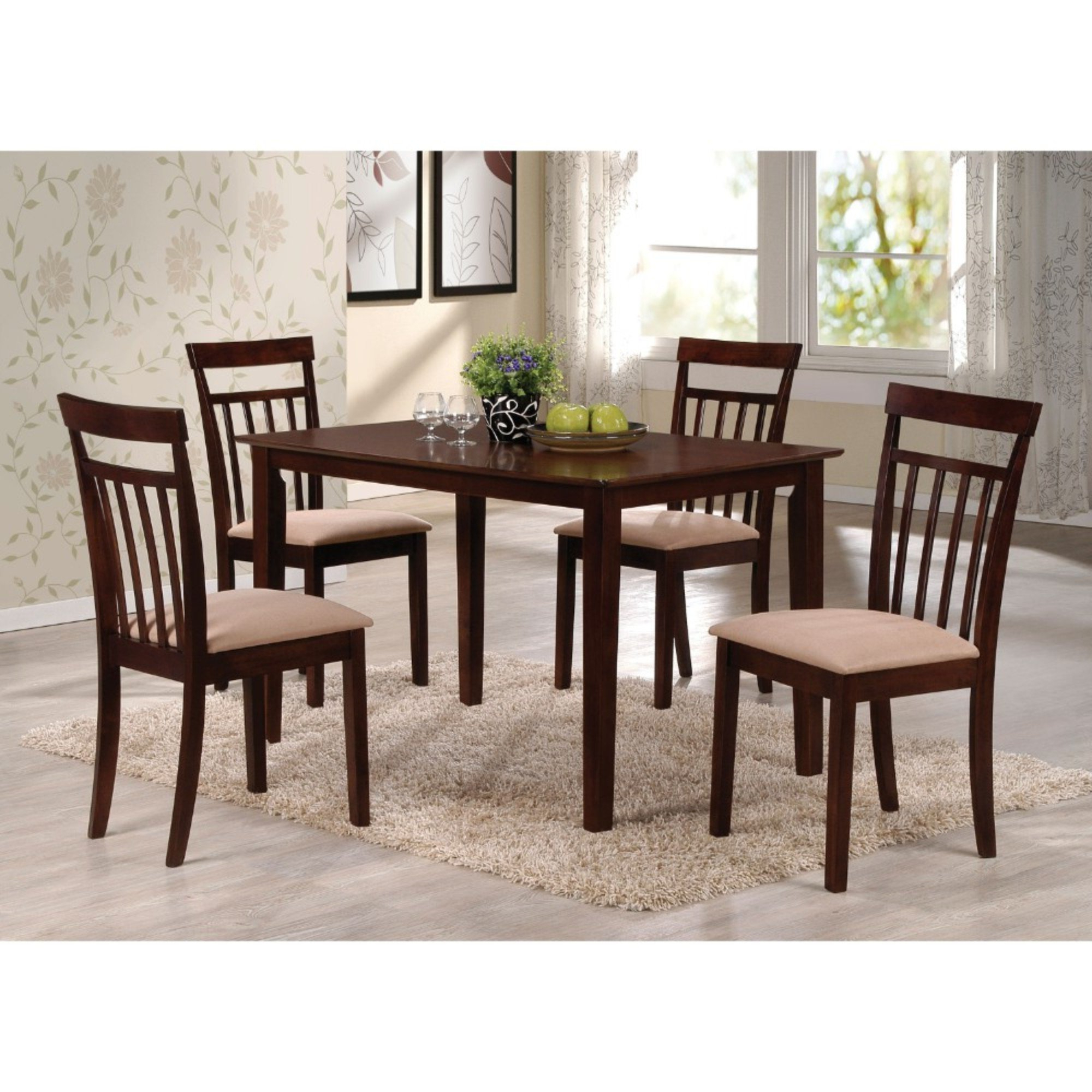 Favorite Bartel Wooden Slatted Back Chairs 5 Piece Dining Set Pertaining To Adan 5 Piece Solid Wood Dining Sets (Set Of 5) (View 15 of 20)
