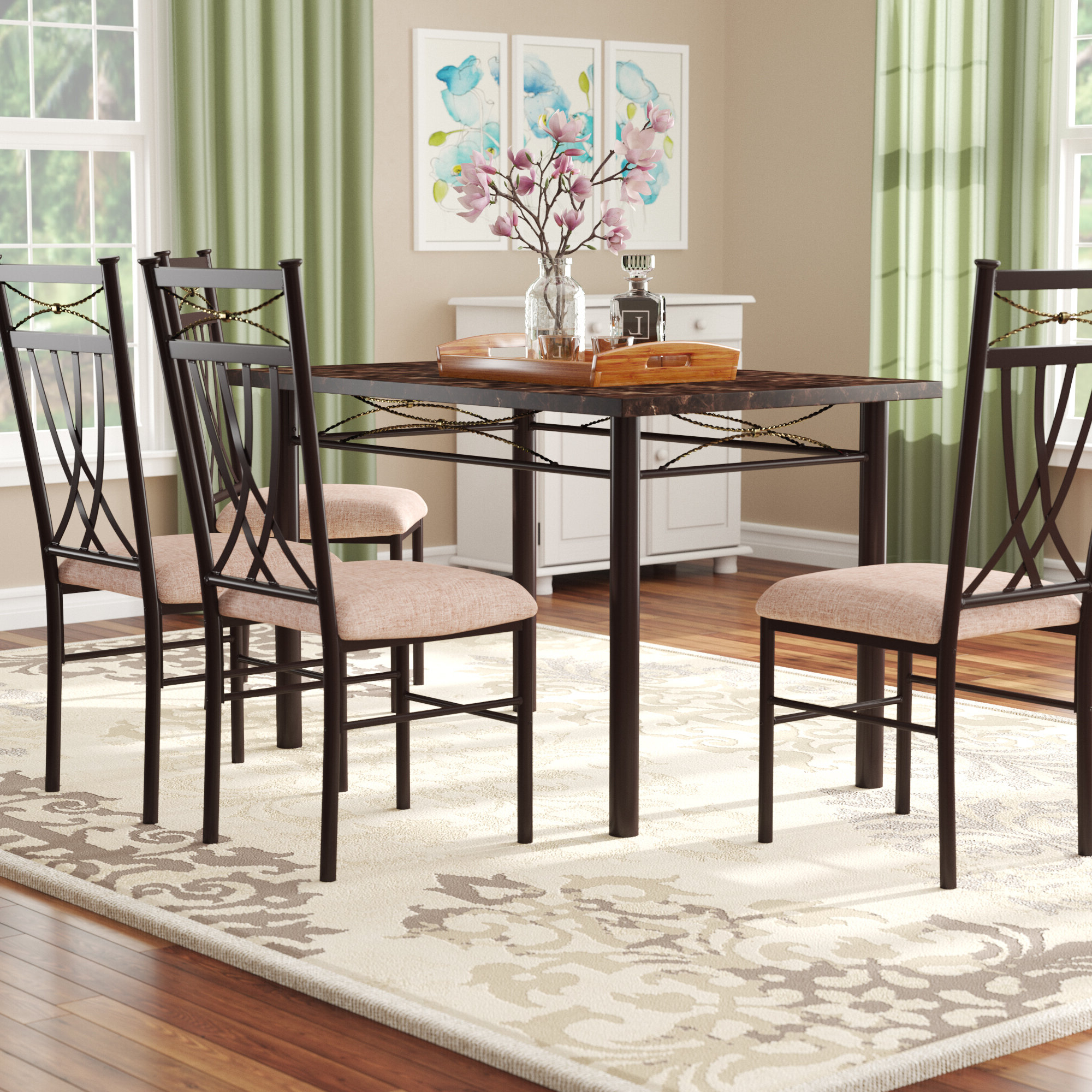 Favorite Casiano 5 Piece Dining Sets Within Branden 5 Piece Dining Set (Gallery 10 of 20)