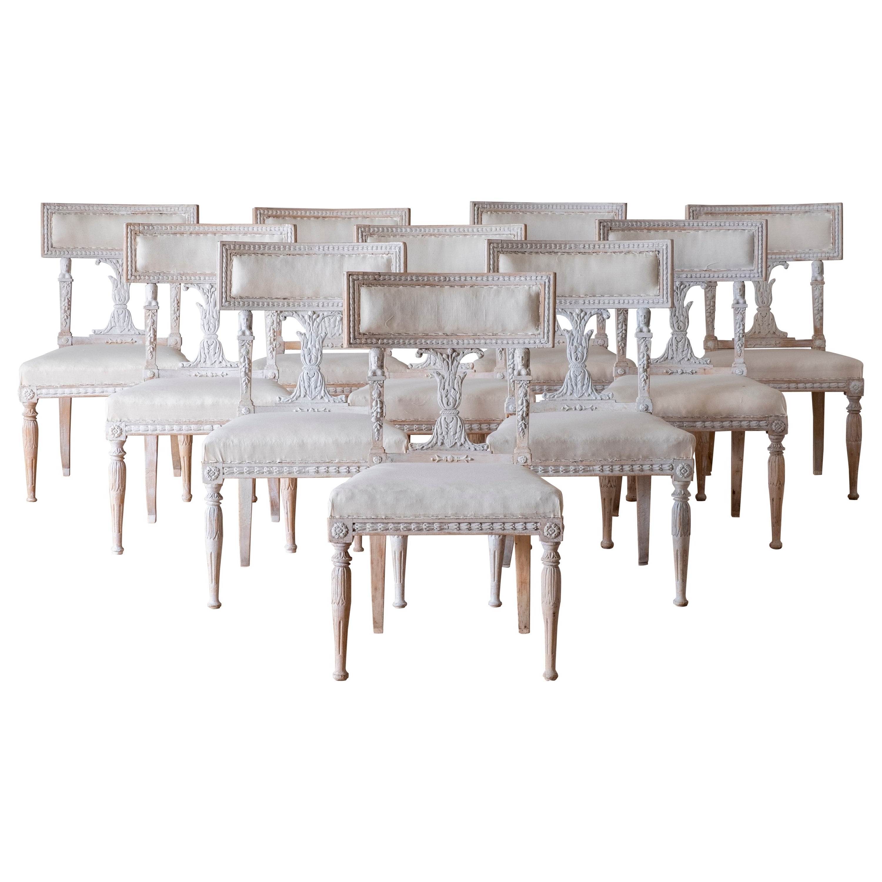 Favorite Ephraim 5 Piece Dining Sets In Set Of Ten 19th Century Gustavian Dinning Chairs (View 19 of 20)