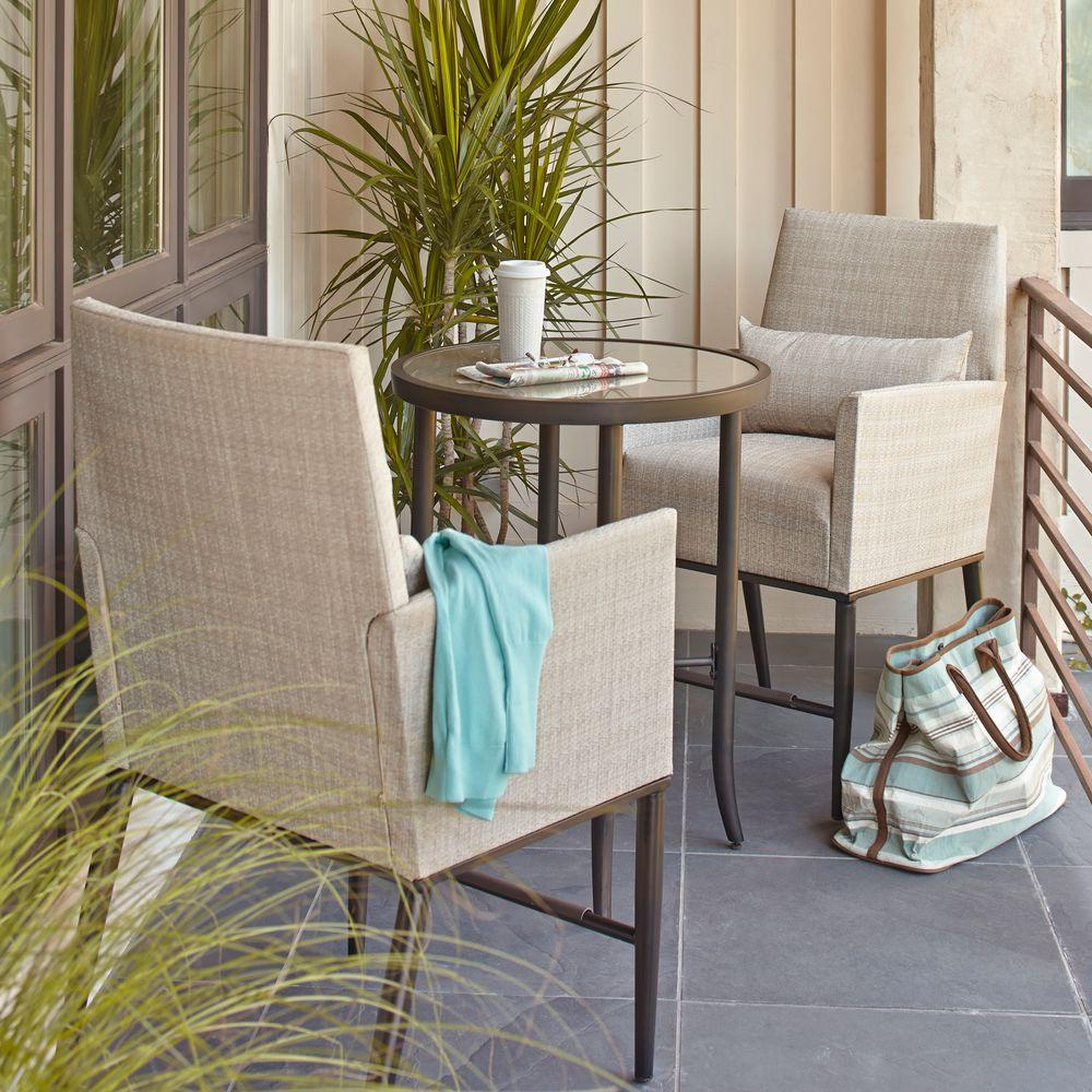 Favorite Hampton Bay Aria 3 Piece Balcony Patio Bistro Set Pertaining To Aria 5 Piece Dining Sets (View 8 of 20)