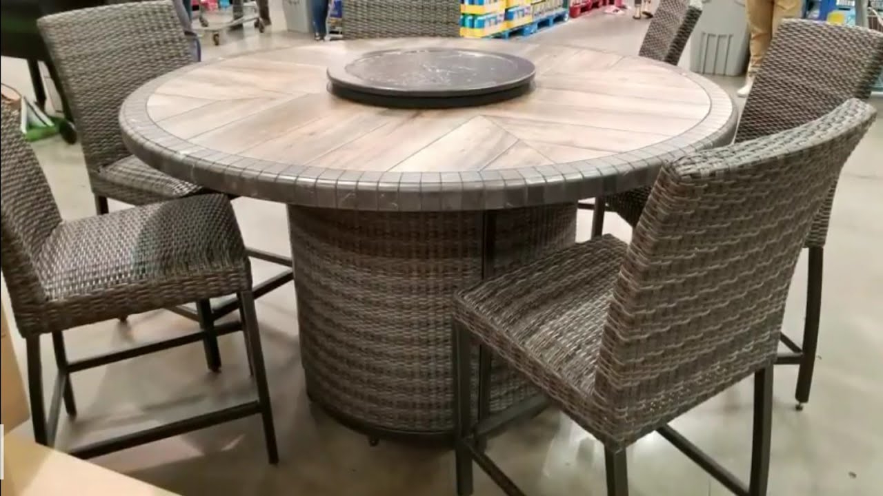 Favorite Northwoods 3 Piece Dining Sets Throughout Costco! Agio 7 Pc High Dinning Set With Fire Table! $1299!!! (View 16 of 20)