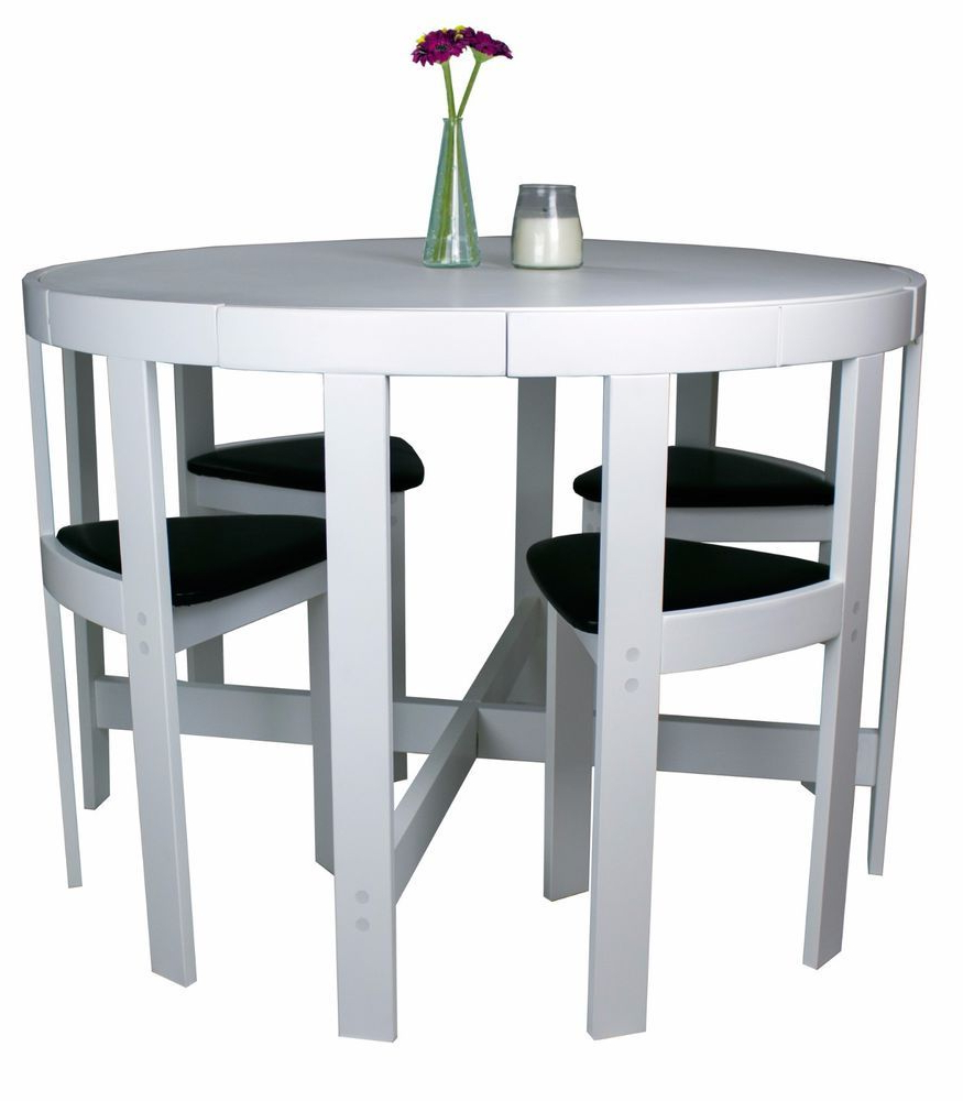 Favorite Ryker 3 Piece Dining Sets With Regard To 5 Piece Unique Modern White Wood Table & Chairs Kitchen Breakfast (View 3 of 20)