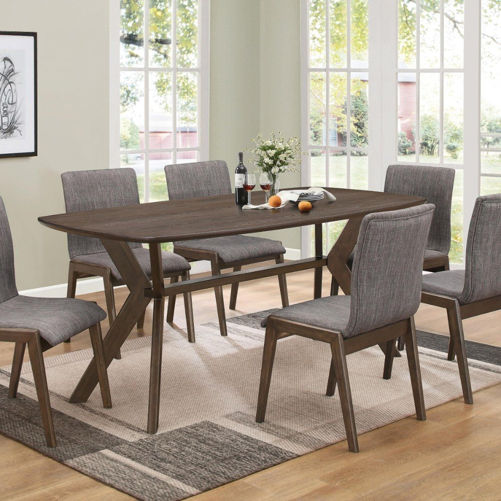 Favorite Shorewood Mid Century Solid Wood Dining Table In Amir 5 Piece Solid Wood Dining Sets (Set Of 5) (Gallery 6 of 20)