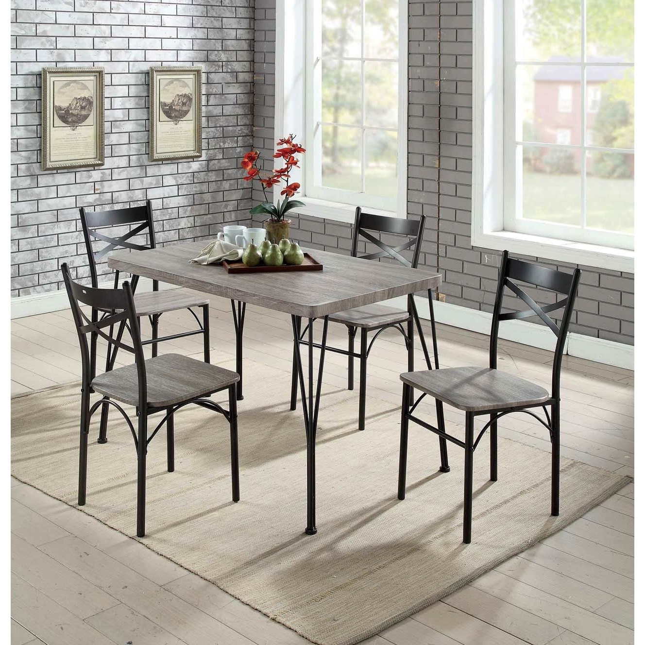 Furniture Of America Hathway Industrial 5 Piece Dark Bronze Small Within Latest Bearden 3 Piece Dining Sets (Gallery 12 of 20)