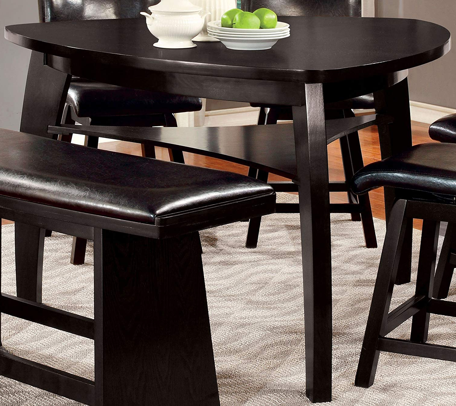 Furniture Of America Morley Pub Dining Table, Black Throughout Recent Amir 5 Piece Solid Wood Dining Sets (Set Of 5) (Gallery 4 of 20)