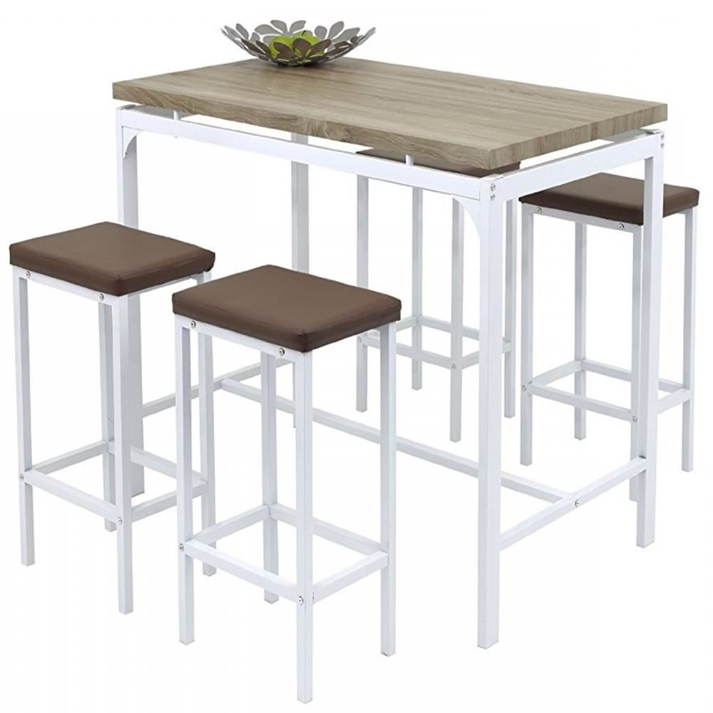 Gr8 Home High Counter Bar Set 5 Piece Breakfast Table And Chairs Bistro Pub  Kitchen Dining Stools Inside Favorite Weatherholt Dining Tables (View 11 of 20)