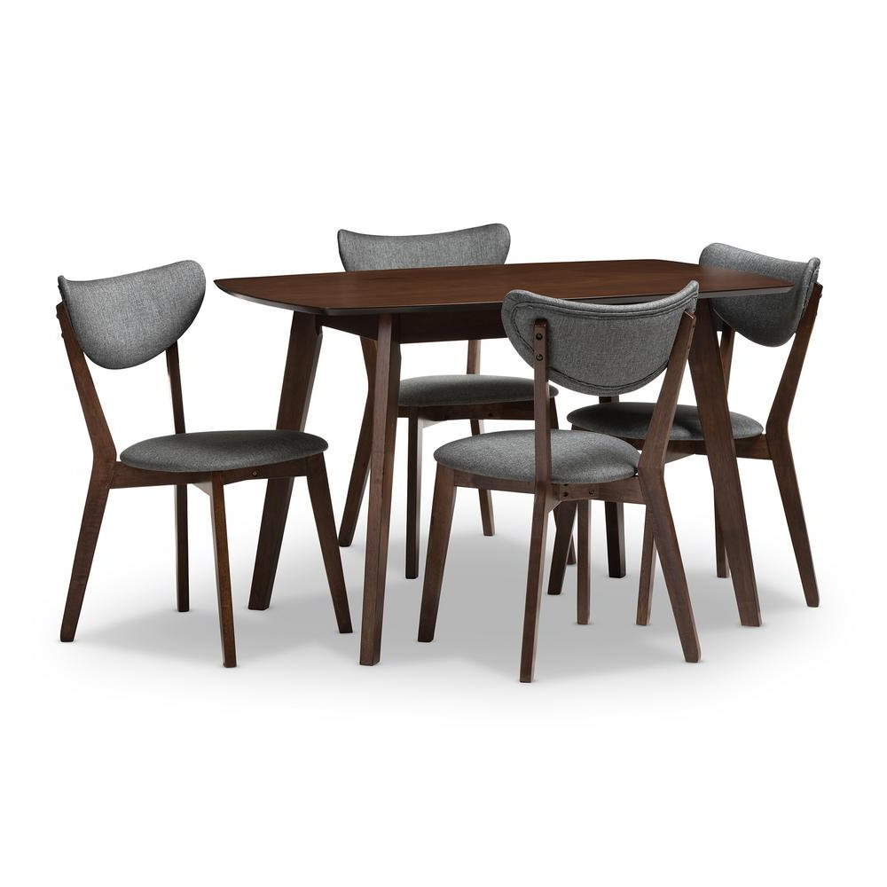 Hadrea 5 Piece Dark Gray Dining Set Within 2017 Evellen 5 Piece Solid Wood Dining Sets (Set Of 5) (Gallery 11 of 20)