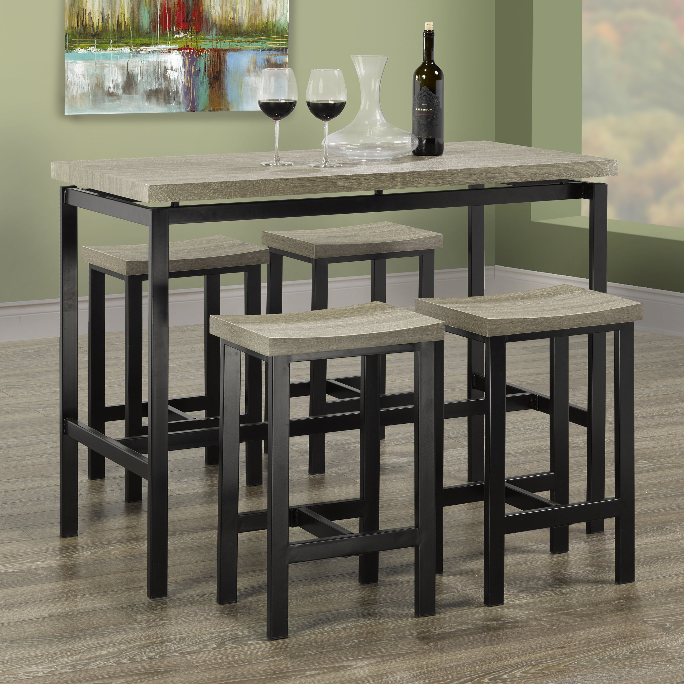 Hale 5 Piece Pub Table Set Regarding Most Recent Denzel 5 Piece Counter Height Breakfast Nook Dining Sets (View 11 of 20)
