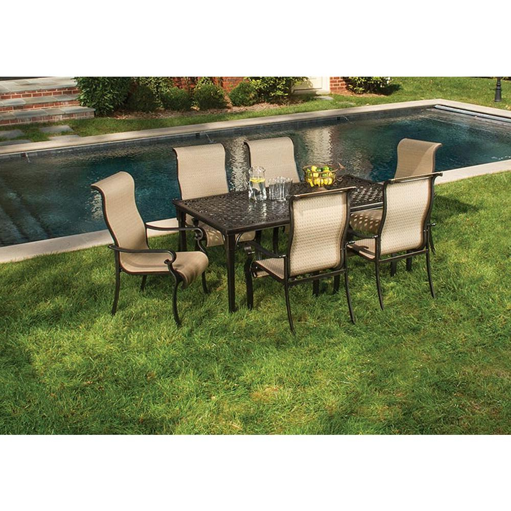Hanover Brigantine 7 Piece Patio Outdoor Dining Set With Trendy Laconia 7 Pieces Solid Wood Dining Sets (set Of 7) (View 19 of 20)
