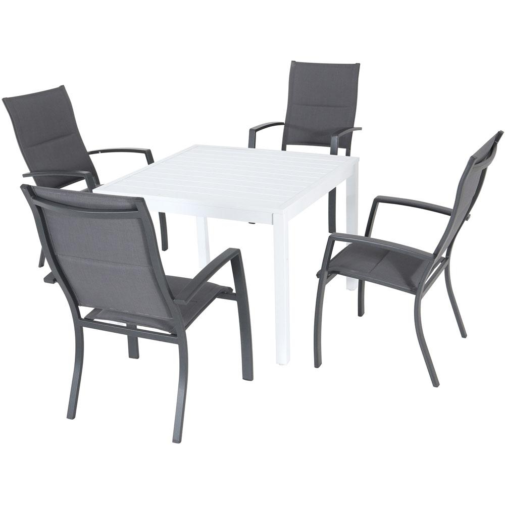 Hanover Del Mar 5 Piece Aluminum Outdoor Dining Set With 4 Padded Sling Chairs And A 38 In (View 9 of 20)