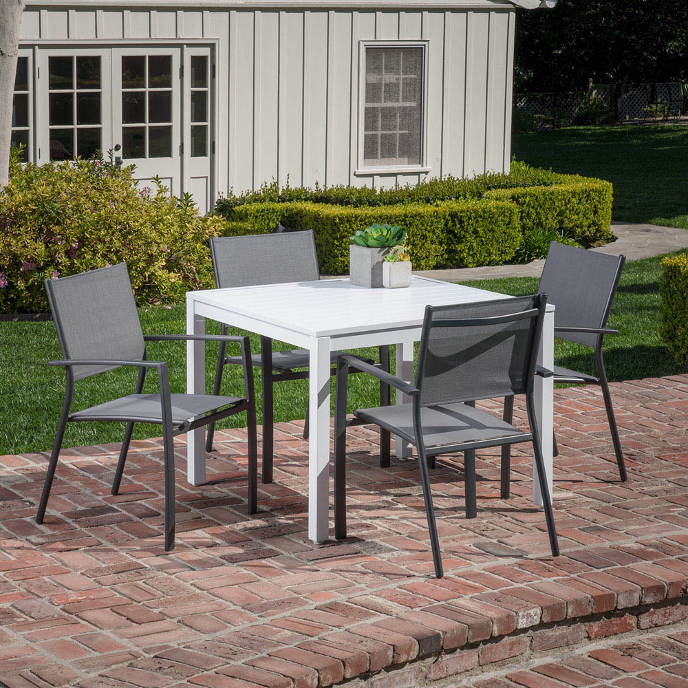 Hanover Del Mar 5 Piece Outdoor Dining Set With 4 Sling Arm Chairs And A 38 Regarding Latest Delmar 5 Piece Dining Sets (View 10 of 20)