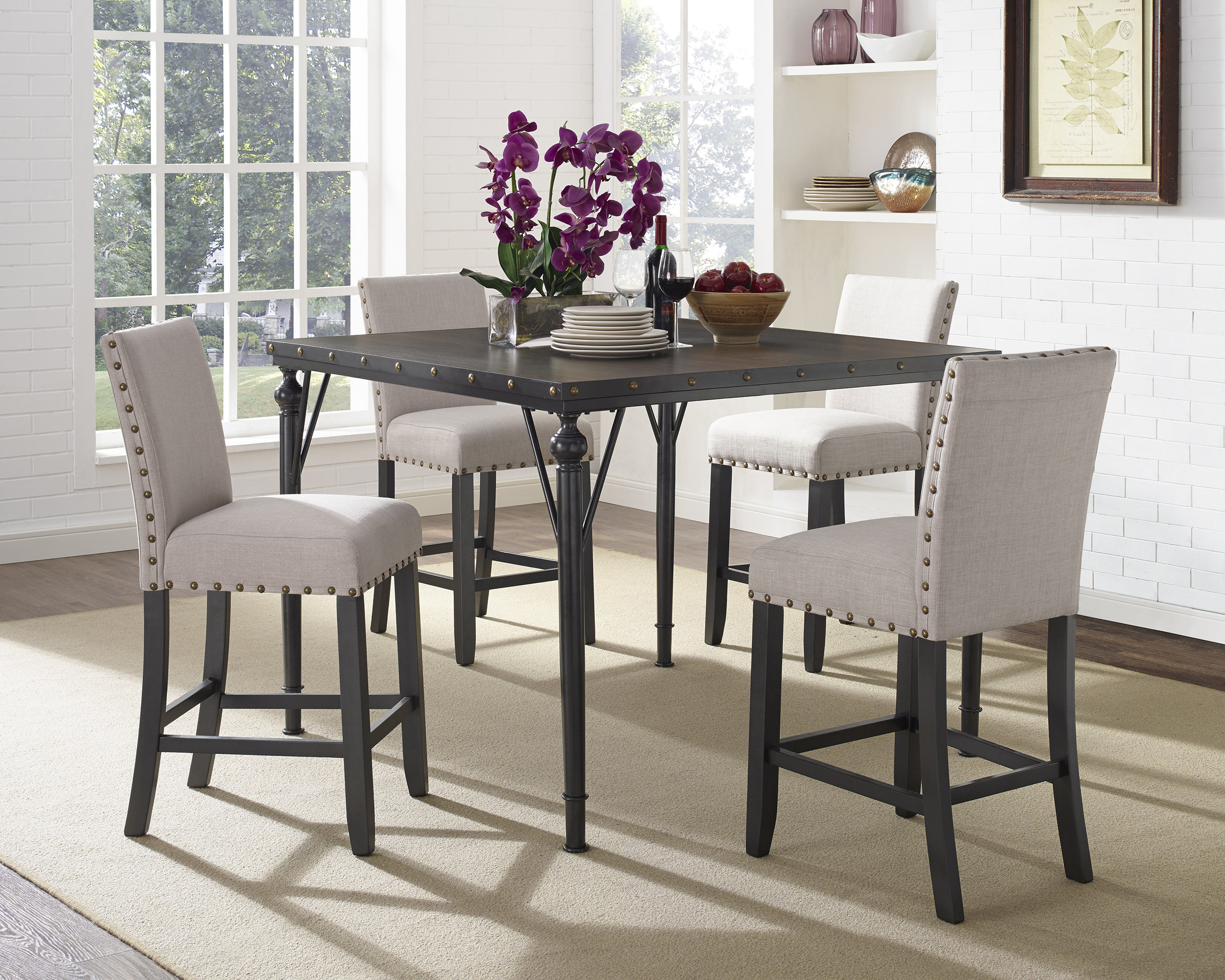 Haysi Wood Counter Height 5 Piece Dining Set With Fabric Nailhead Chairs Intended For Latest Bryson 5 Piece Dining Sets (View 8 of 20)