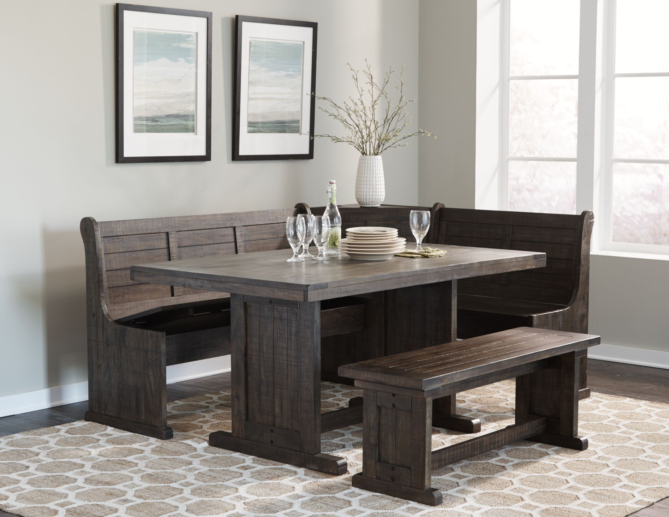 Homestead Tobacco Leaf Breakfast Nook Set Pertaining To Most Recently Released Liles 5 Piece Breakfast Nook Dining Sets (View 9 of 20)