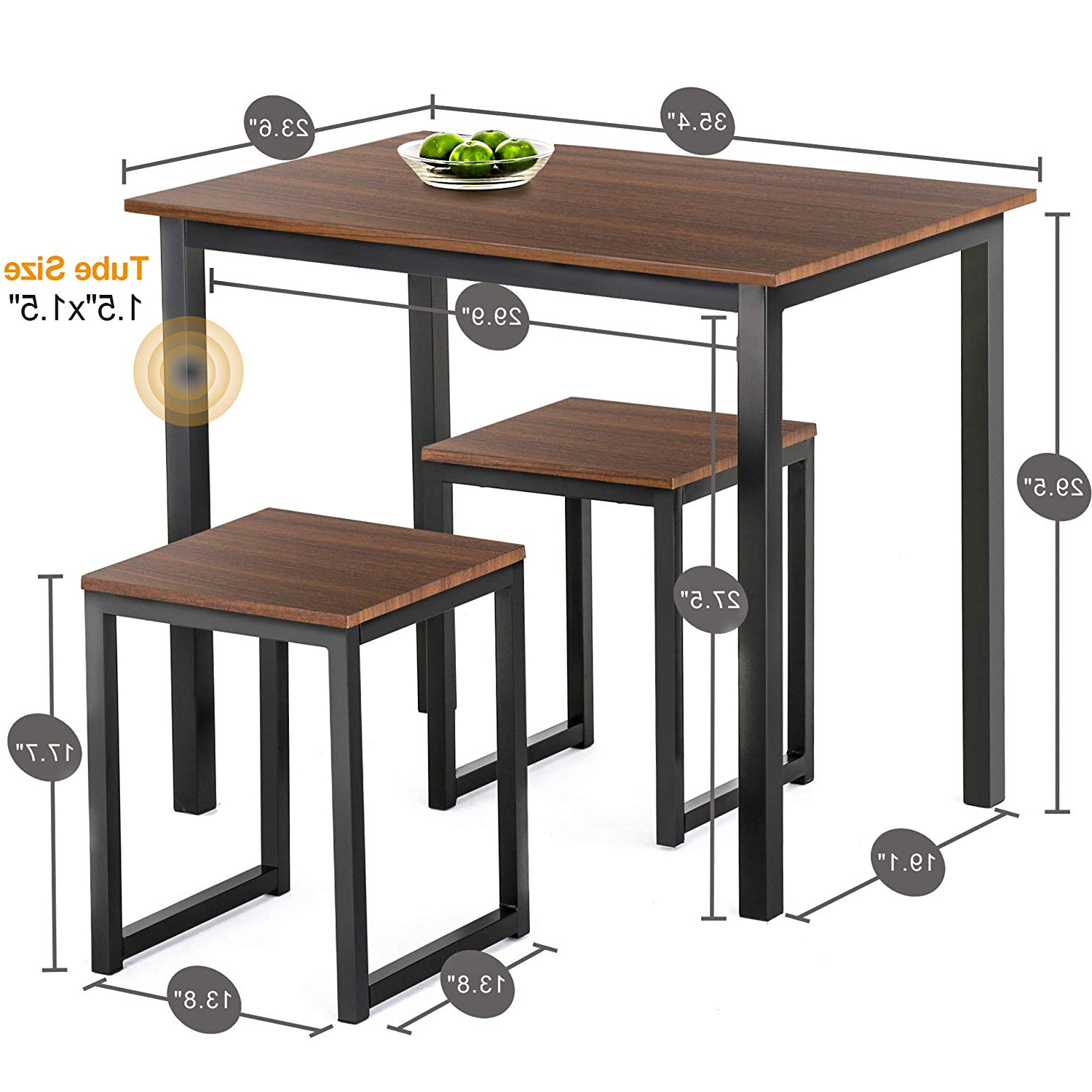 Homury Modern Wood 3 Piece Dining Set Studio Collection Soho Dining Table  With Two Stools Home Kitchen Breakfast Table,brown Regarding Most Up To Date 3 Piece Dining Sets (Gallery 14 of 20)