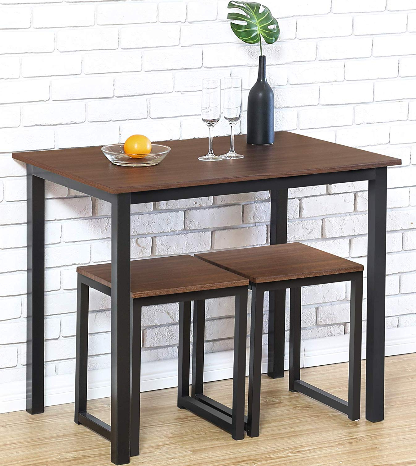 Homury Modern Wood 3 Piece Dining Set Studio Collection Soho Dining Table With Two Stools Home Kitchen Breakfast Table,brown Throughout Newest 3 Piece Breakfast Dining Sets (View 12 of 20)