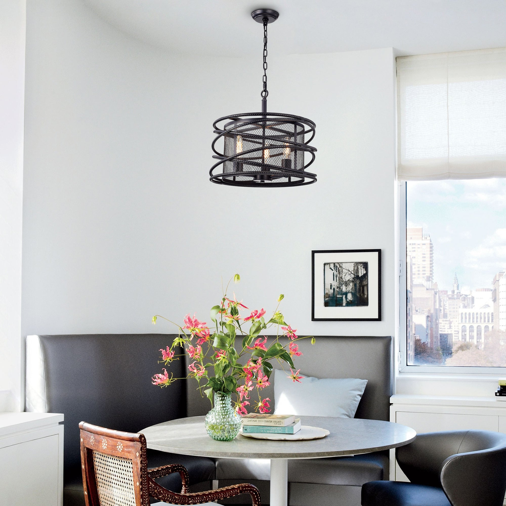 Honoria 3 Piece Dining Sets In Best And Newest Honoria Antique Black Rebar Layer And Metal Mesh Drum Shade Pendant Chandelier (View 15 of 20)
