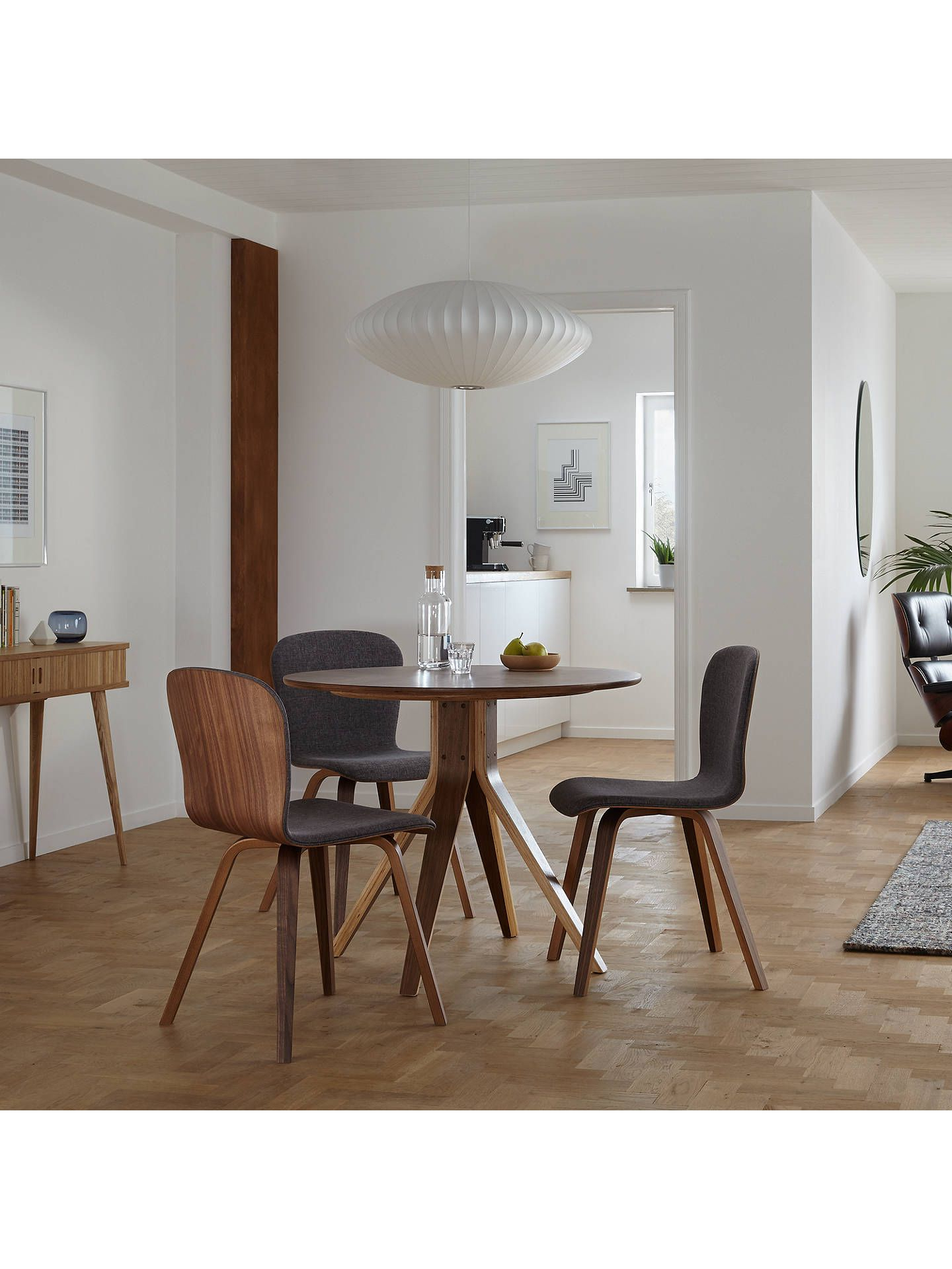 Housejohn Lewis Radar 4 Seater Round Dining Table, Walnut In With Regard To 2017 John 4 Piece Dining Sets (View 7 of 20)