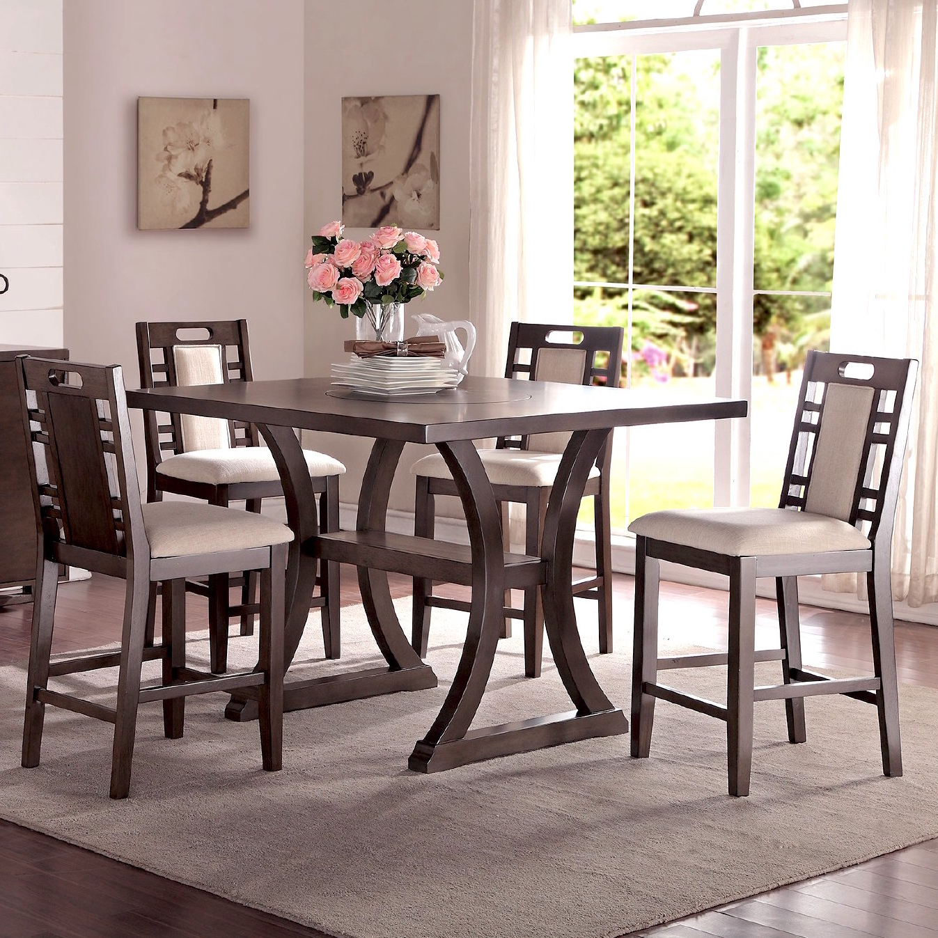 Infini Furnishings Adele 5 Piece Counter Height Dining Set With Regard To Well Liked Calla 5 Piece Dining Sets (Gallery 15 of 20)