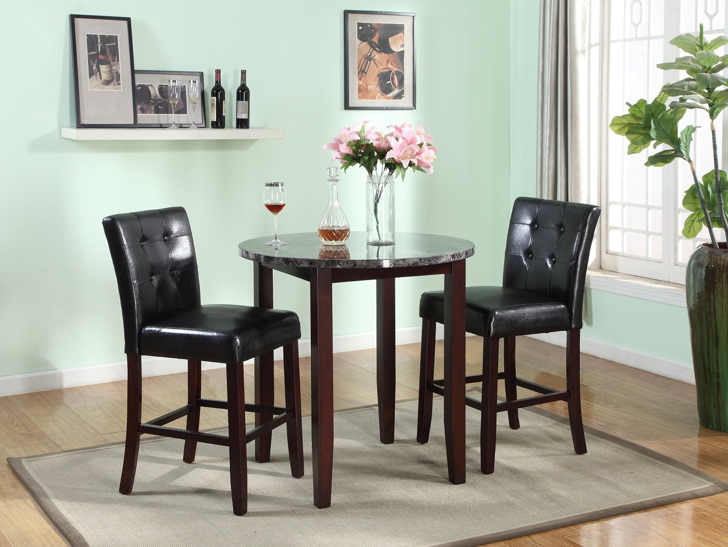 Janmarie 3 Piece Counter Height Dining Set Within Favorite Mizpah 3 Piece Counter Height Dining Sets (Gallery 8 of 20)