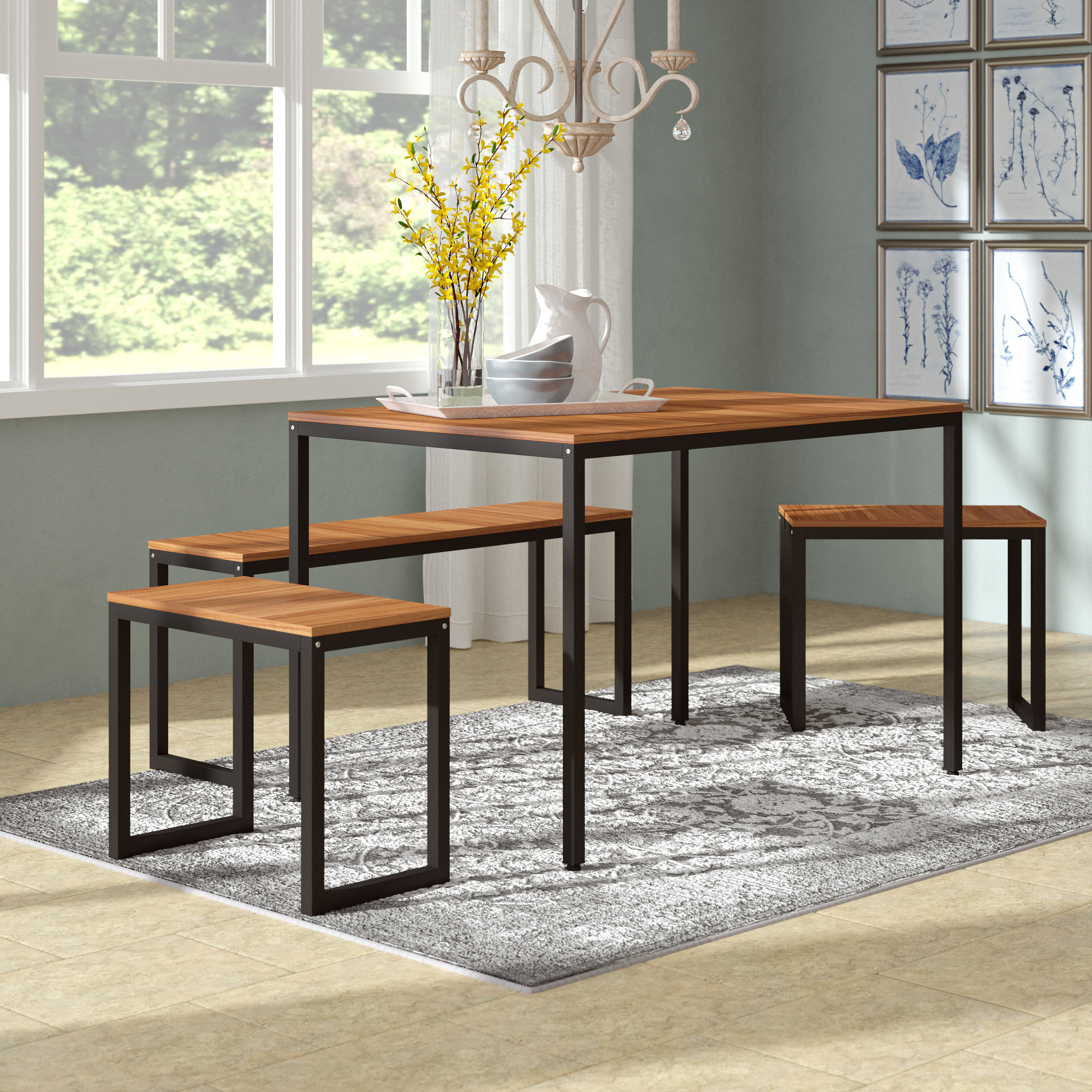 John 4 Piece Dining Set With Famous Kerley 4 Piece Dining Sets (View 4 of 20)