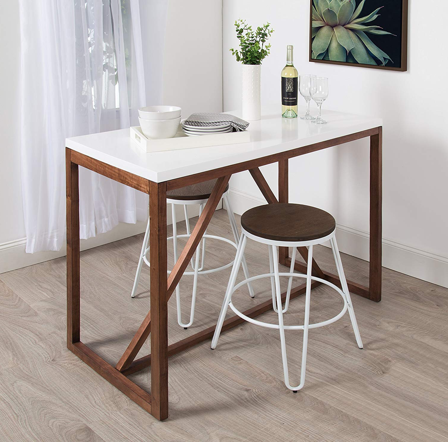 Kate And Laurel Kaya 36 Inch Tall Pub/bar Table, Two Toned Wood, White And  Modern Walnut Brown In Famous Kaya 3 Piece Dining Sets (View 5 of 20)
