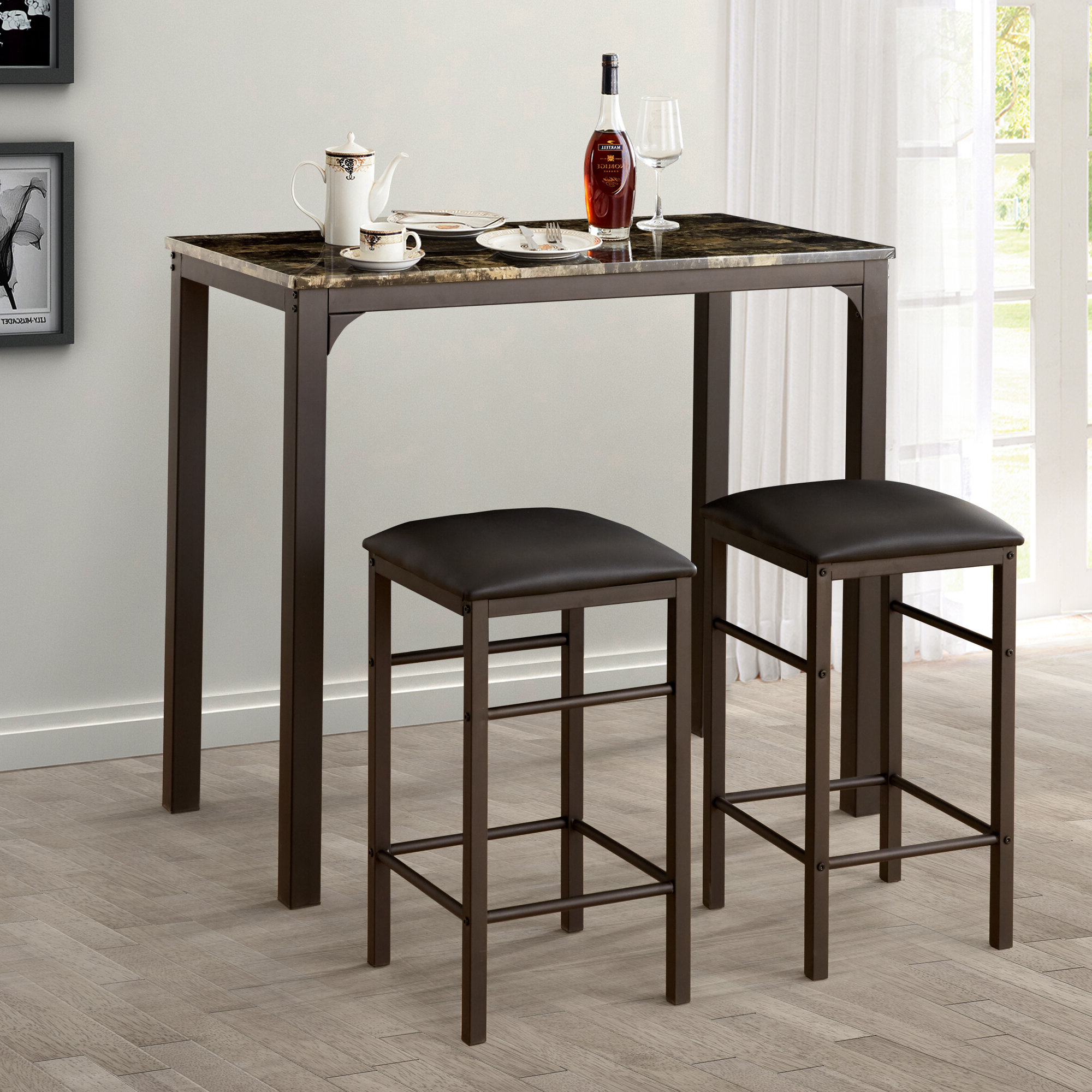 Kernville 3 Piece Counter Height Dining Sets Regarding Well Known Lillard 3 Piece Breakfast Nook Dining Set (View 11 of 20)