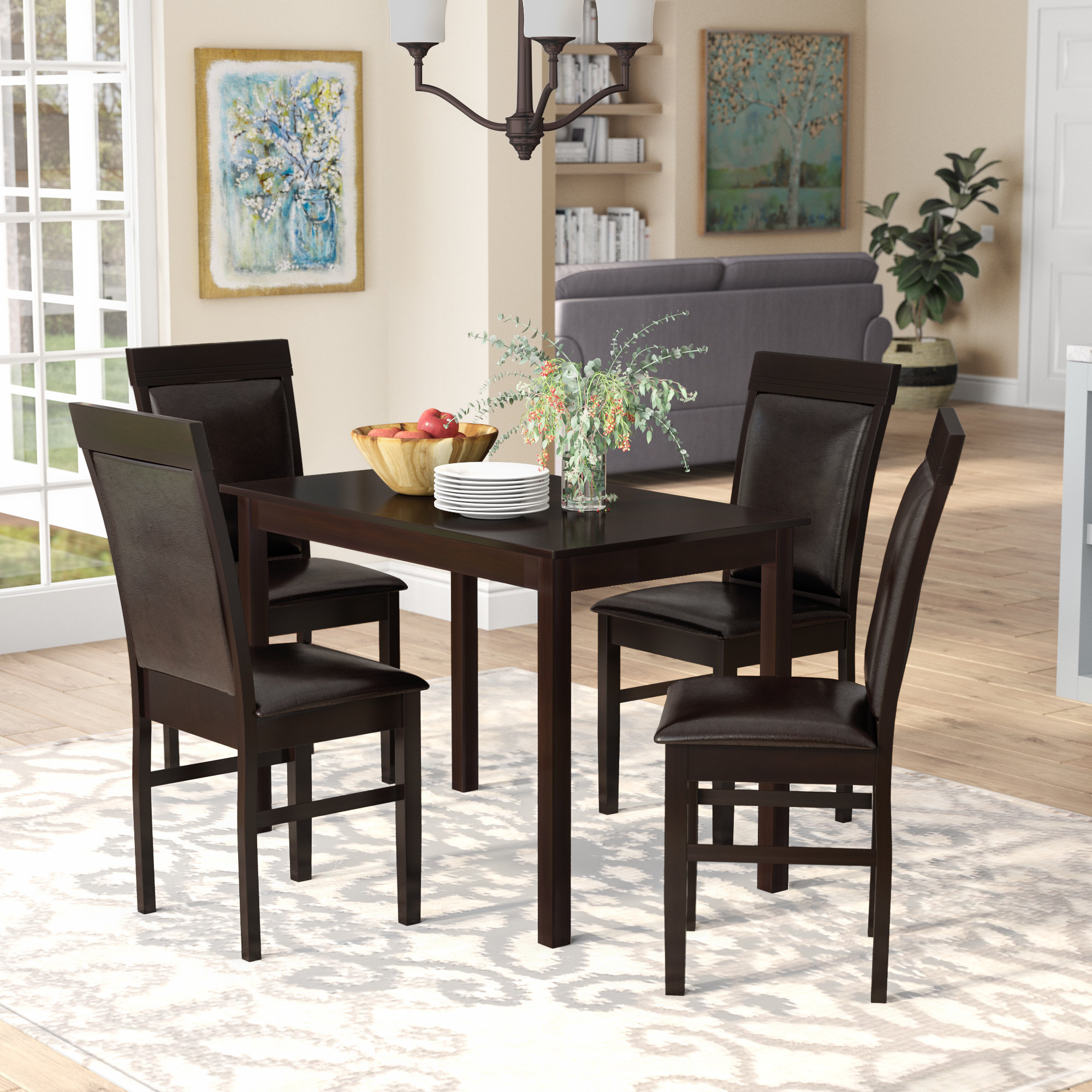 Kisor Modern And Contemporary 5 Piece Breakfast Nook Dining Set With Fashionable 5 Piece Breakfast Nook Dining Sets (View 9 of 20)