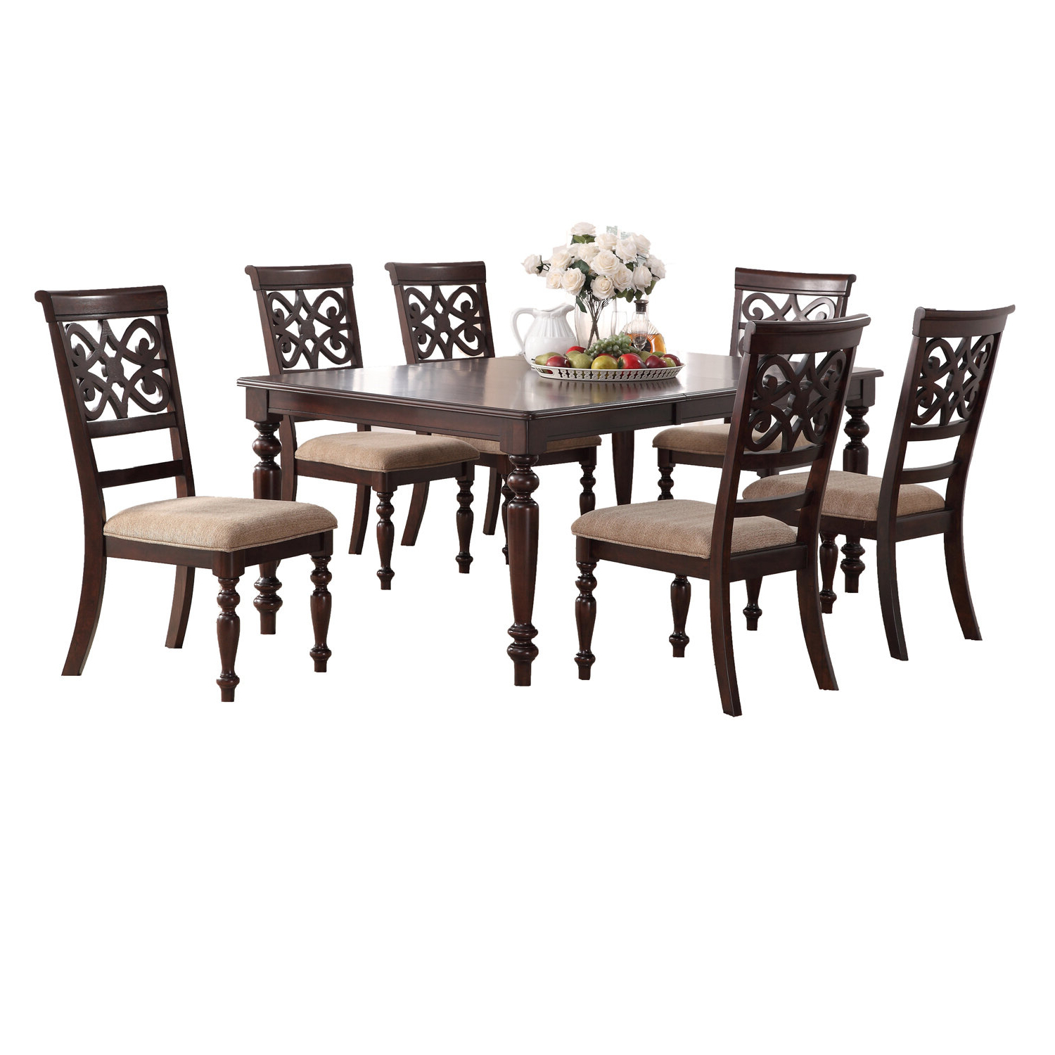 Laconia 7 Pieces Solid Wood Dining Sets (Set Of 7) Inside Famous Laconia 7 Pieces Solid Wood Dining Set (Gallery 1 of 20)