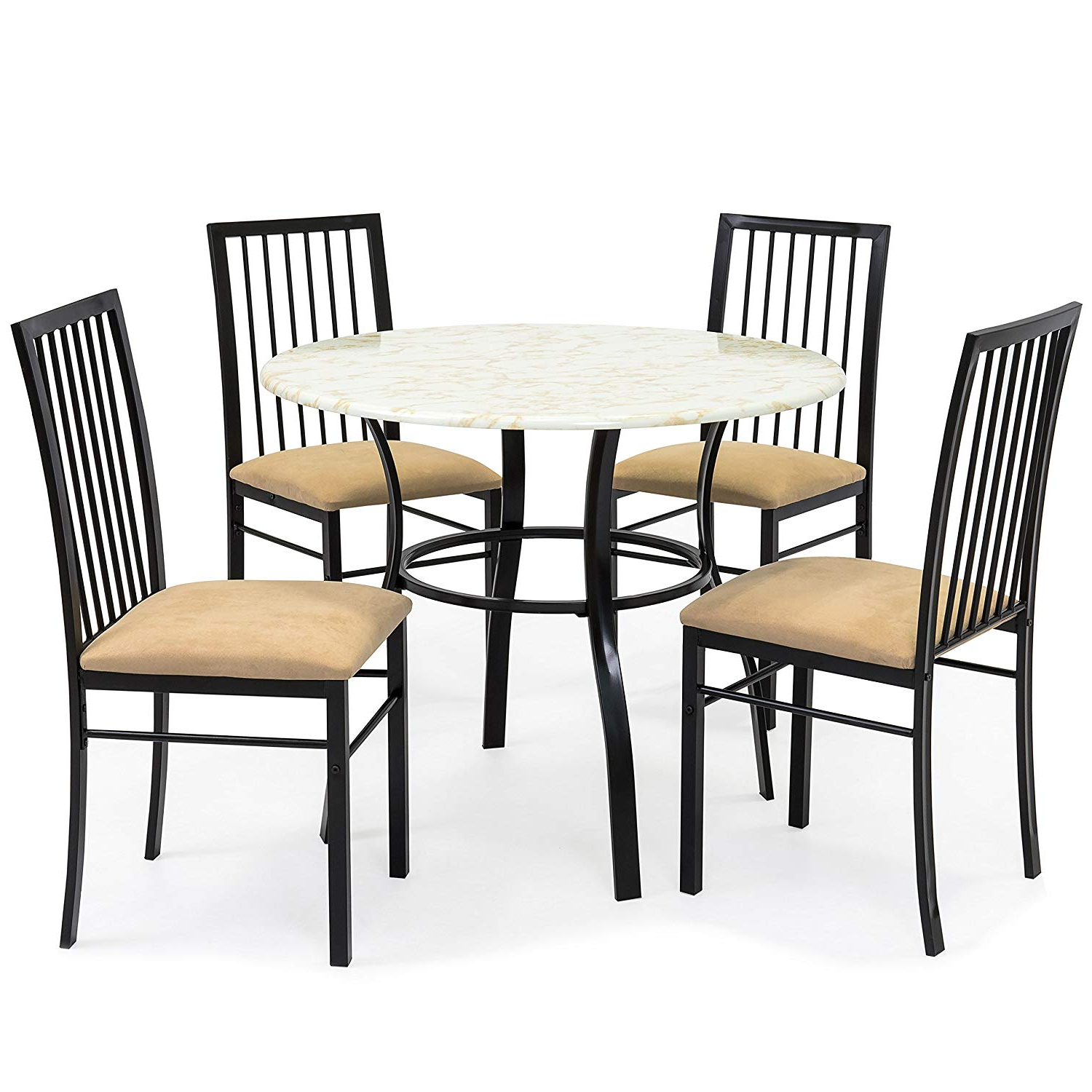 Latest Best Choice Products 5 Piece Faux Marble Top Dining Table And Chairs Set Regarding Evellen 5 Piece Solid Wood Dining Sets (Set Of 5) (Gallery 6 of 20)