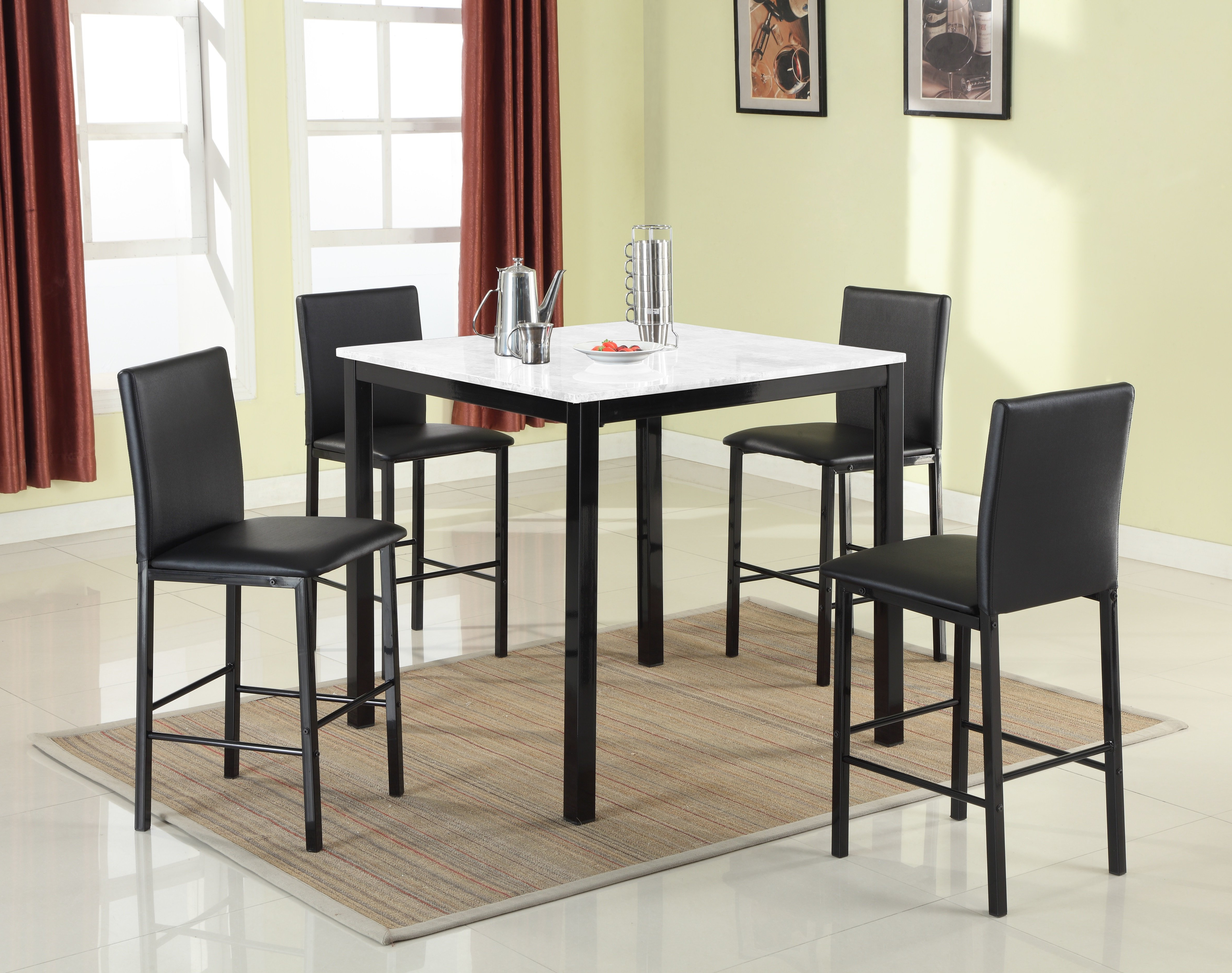 Latest Ganya 5 Piece Dining Sets In Ariandne Faux Marble 5 Piece Counter Height Dining Set (View 11 of 20)