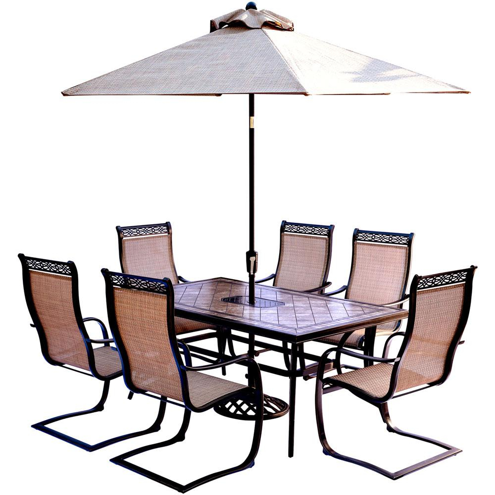 Latest Hanover Monaco 7 Piece Outdoor Dining Set With Rectangular Tile Top Table And Contoured Sling Spring Chairs, Umbrella And Base Throughout Saintcroix 3 Piece Dining Sets (View 16 of 20)
