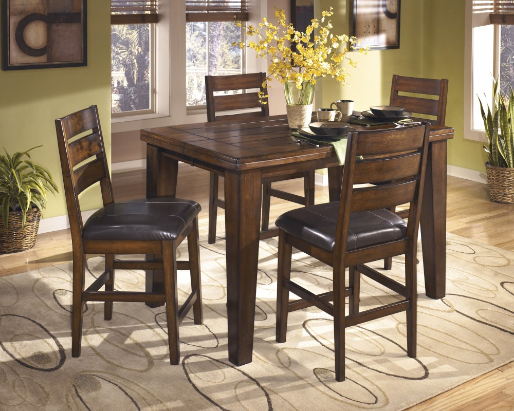 Latest Larchmont Butterfly Ext Table & 4 Uph Bar Stools For Tappahannock 3 Piece Counter Height Dining Sets (View 7 of 20)