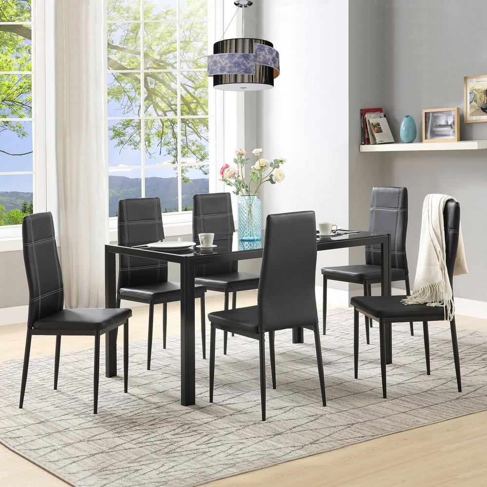 Latest Maynard 5 Piece Dining Sets With Regard To Harper & Bright Designs 7 Piece Black Dining Set Glass Top Metal (Gallery 13 of 20)