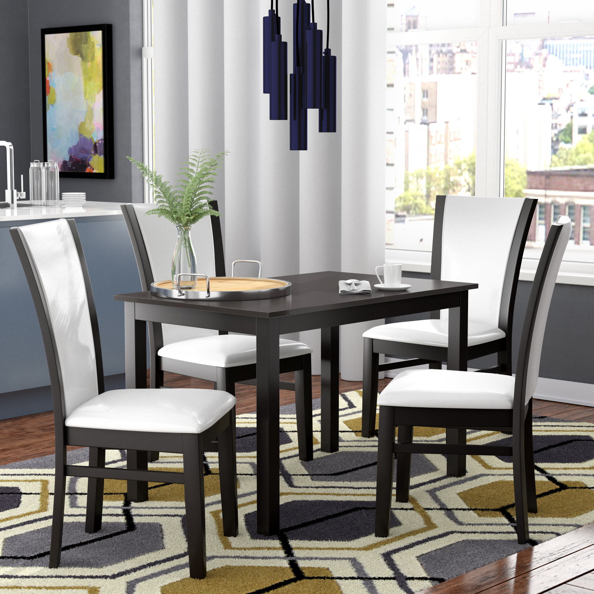 Latest Ontonagon Modern And Contemporary 5 Piece Breakfast Nook Dining Set Pertaining To 5 Piece Breakfast Nook Dining Sets (View 2 of 20)