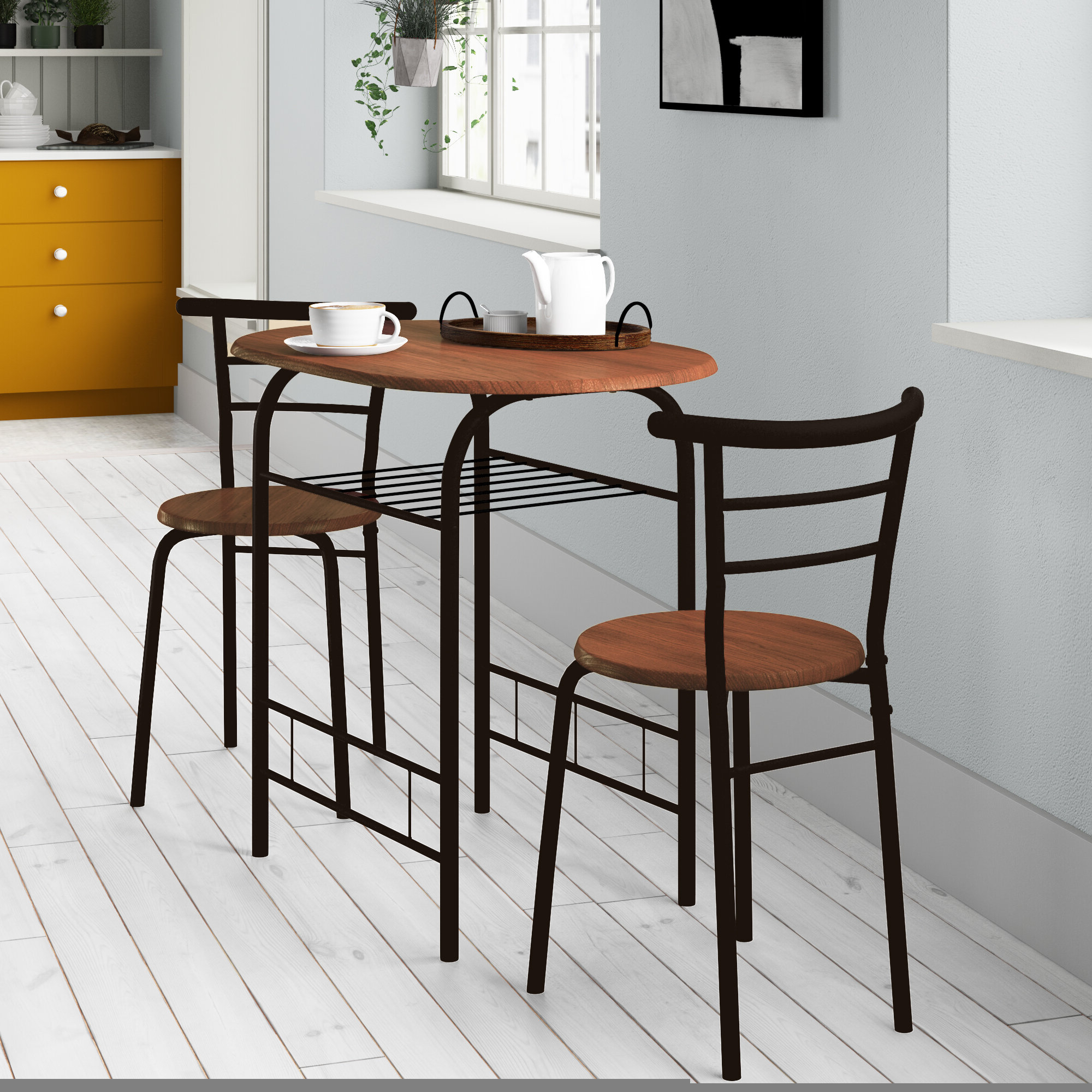 Latest West Hill Family Table 3 Piece Dining Sets Regarding Volmer 3 Piece Compact Dining Set (View 7 of 20)