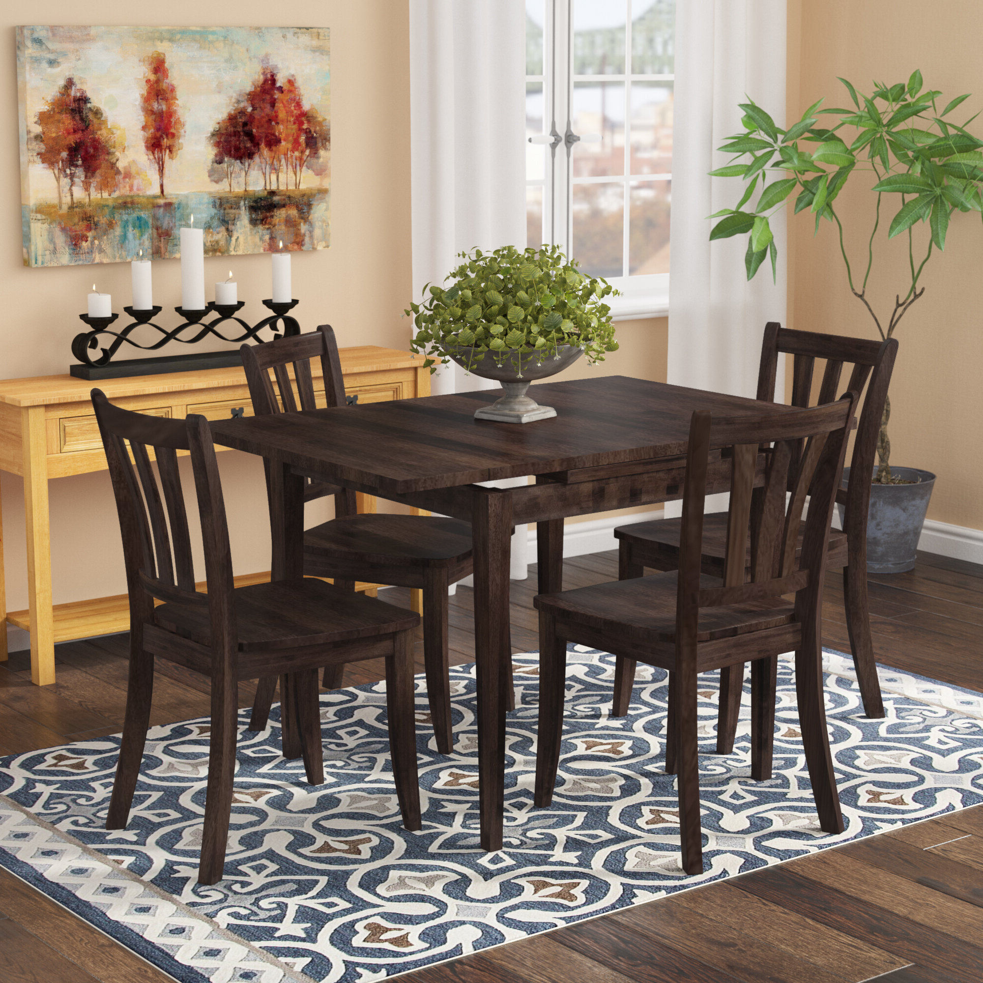 Liggett 5 Piece Extendable Solid Wood Dining Set Inside Favorite Goodman 5 Piece Solid Wood Dining Sets (Set Of 5) (Gallery 12 of 20)