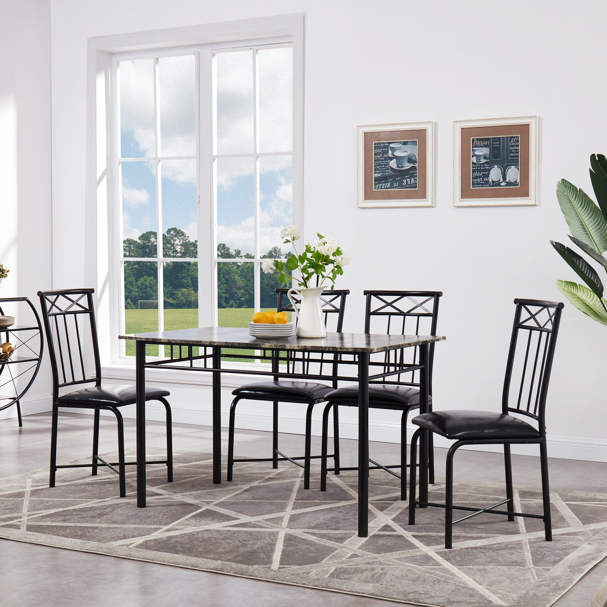 Lightle 5 Piece Breakfast Nook Dining Sets Throughout Preferred Register 5 Piece Dining Set (View 11 of 20)