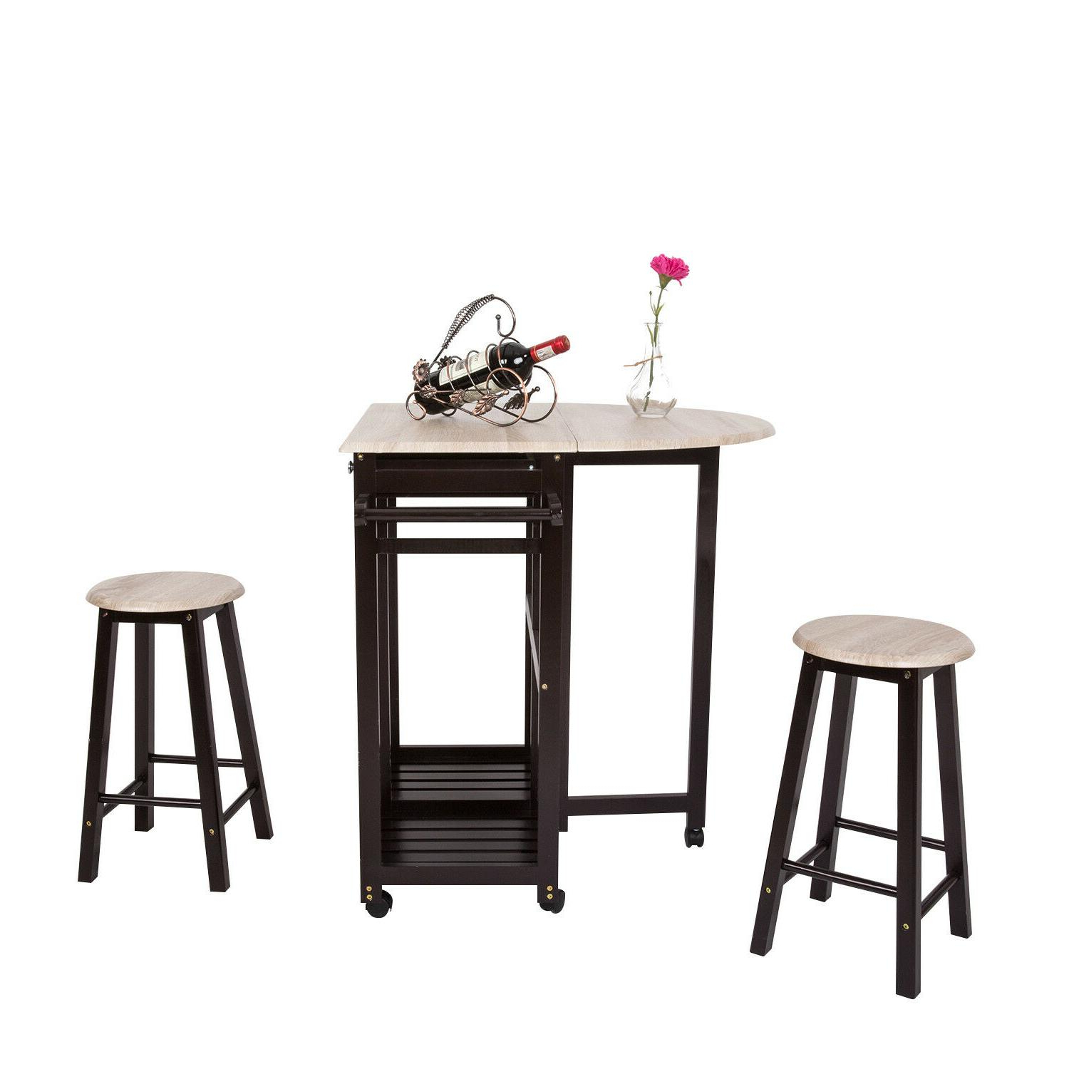 Ligon 3 Piece Breakfast Nook Dining Sets With Regard To Well Known Wooden Rolling Kitchen Trolley Cart 3 Pi (View 10 of 20)