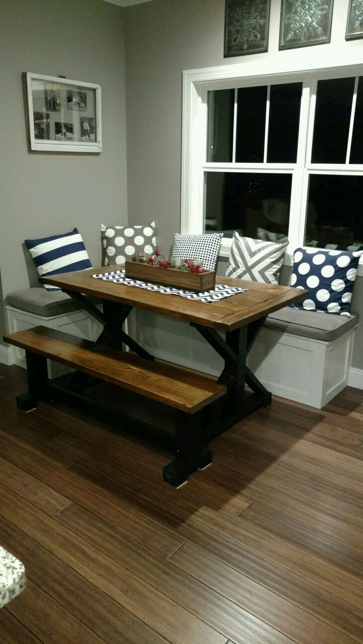 Liles 5 Piece Breakfast Nook Dining Sets Pertaining To 2017 My Husband Built This Table And Bench Seating For My Nook Area. I (Gallery 14 of 20)