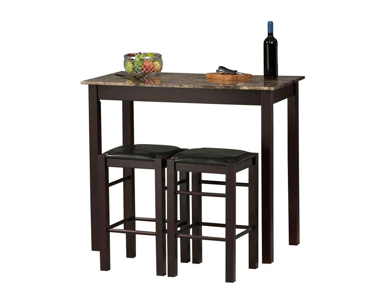Linon Tavern Collection 3 Piece Table Set With Most Recent Valladares 3 Piece Pub Table Sets (View 4 of 20)