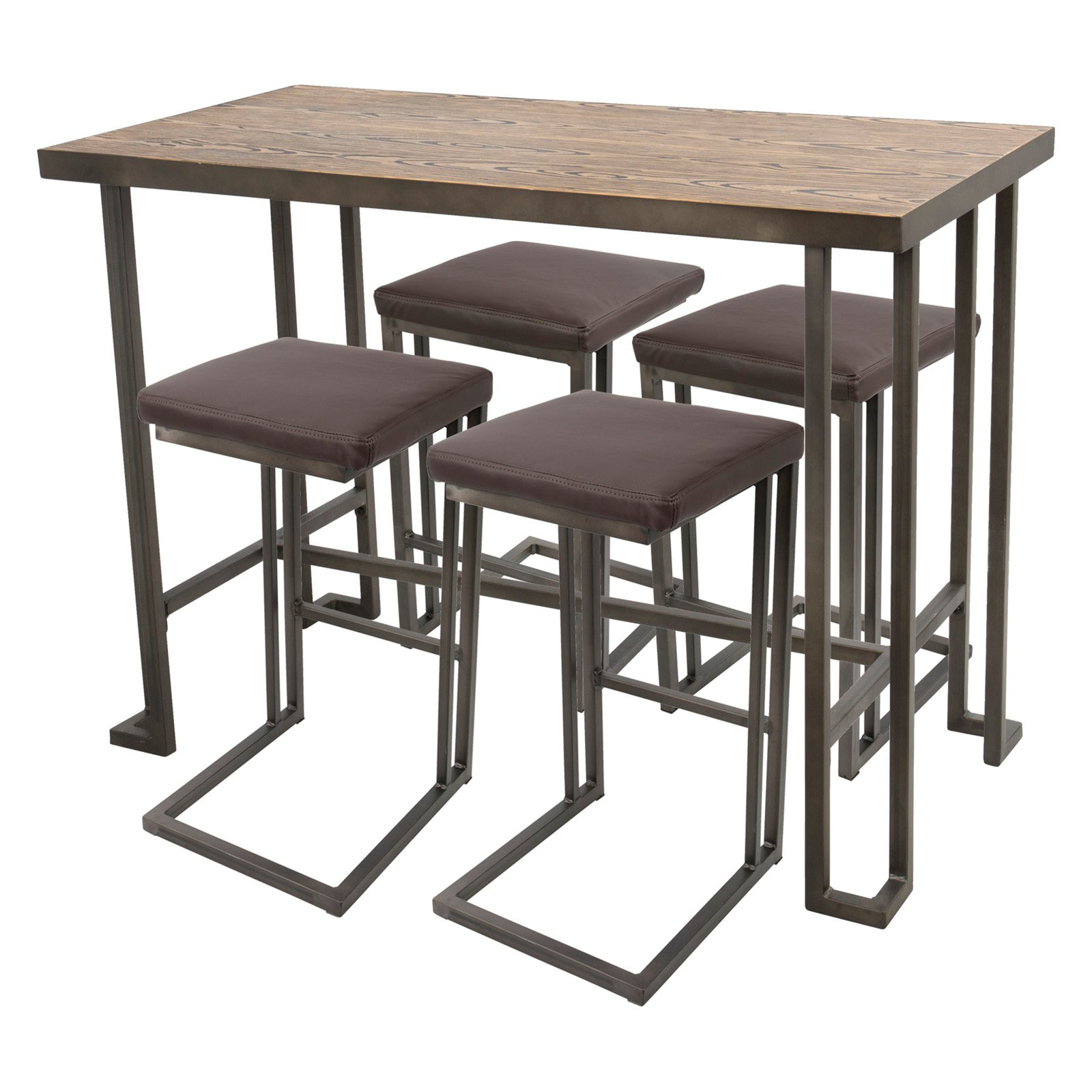 Lumisource Roman 5 Piece Industrial Counter Table Set (Gallery 9 of 20)
