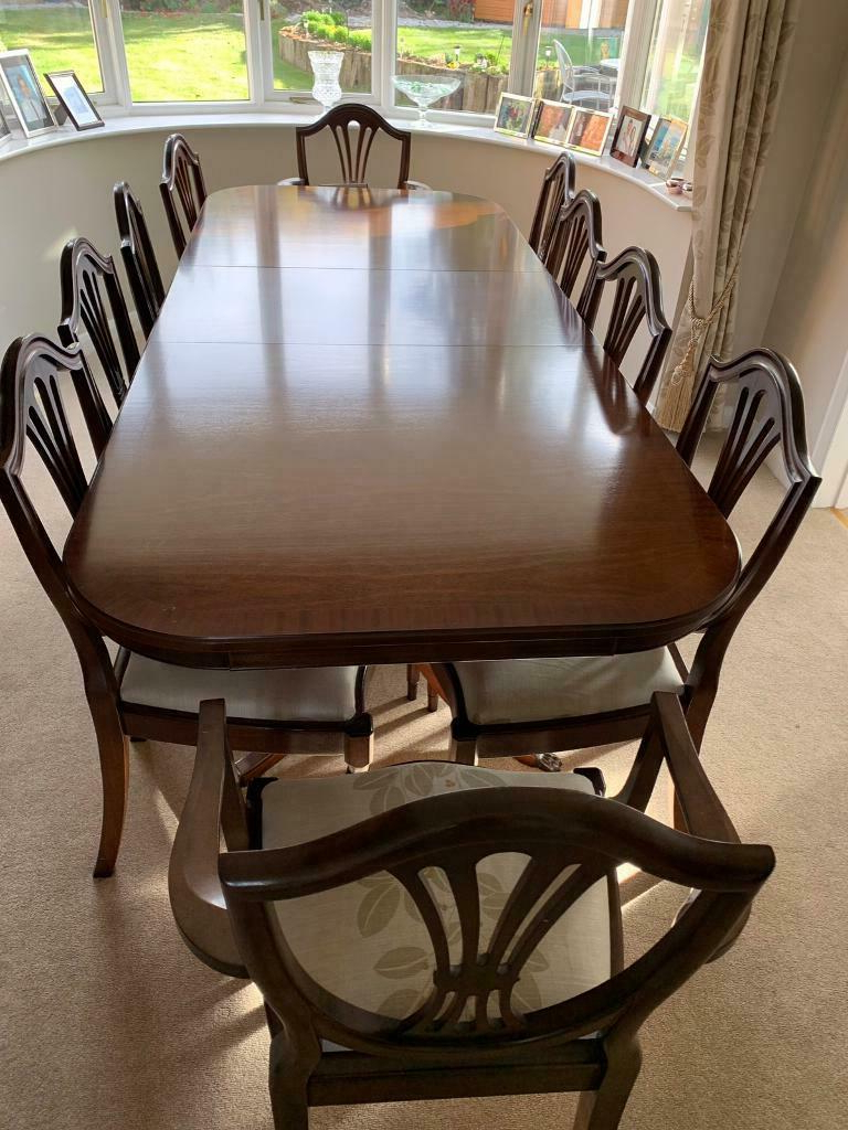 Mahogany Dining Table & 10 Chairs – Fabulous Condition! (View 14 of 20)